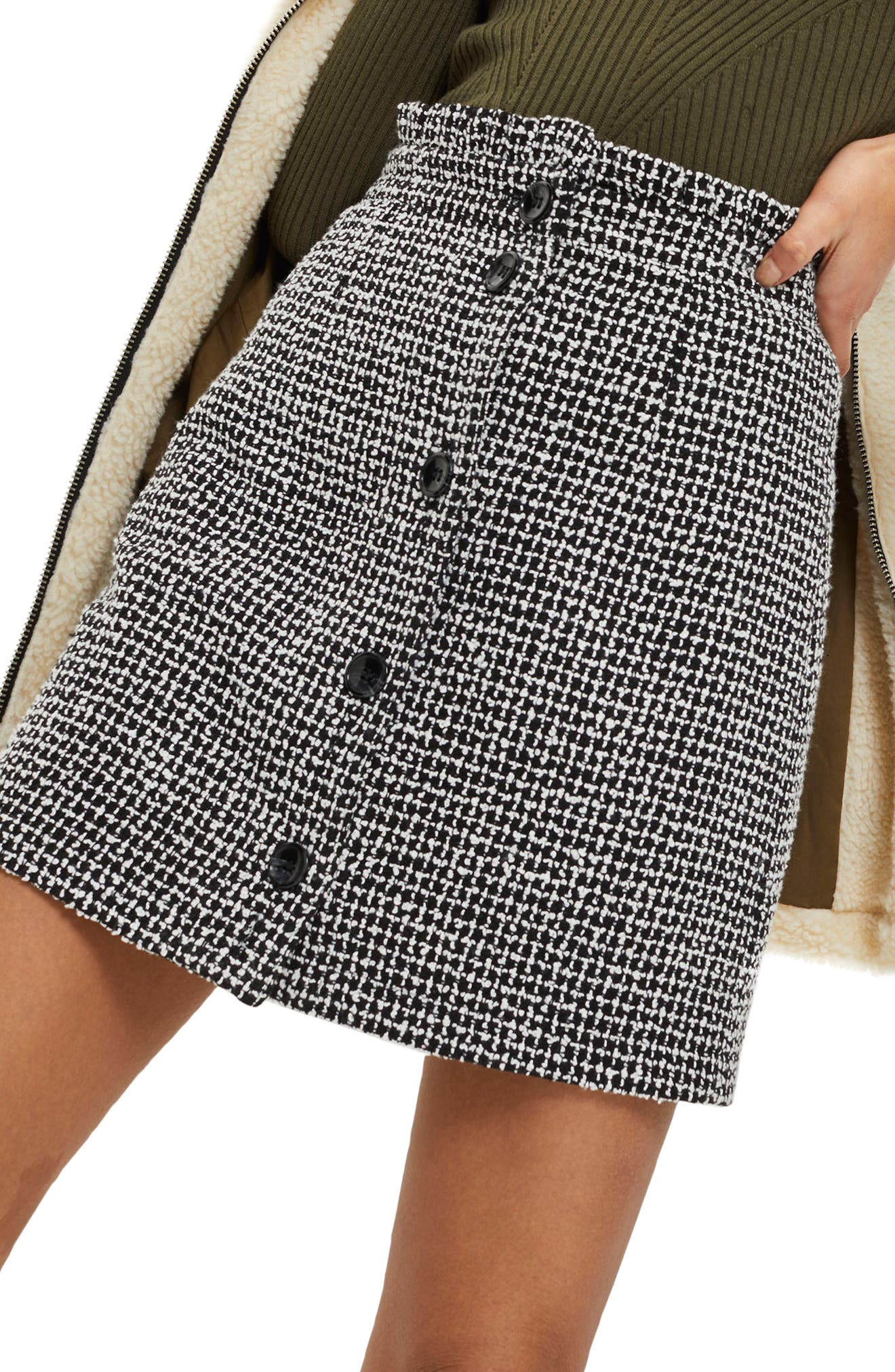 Frill Waist Bouclé Skirt,                             Main thumbnail 1, color,                             Black Multi