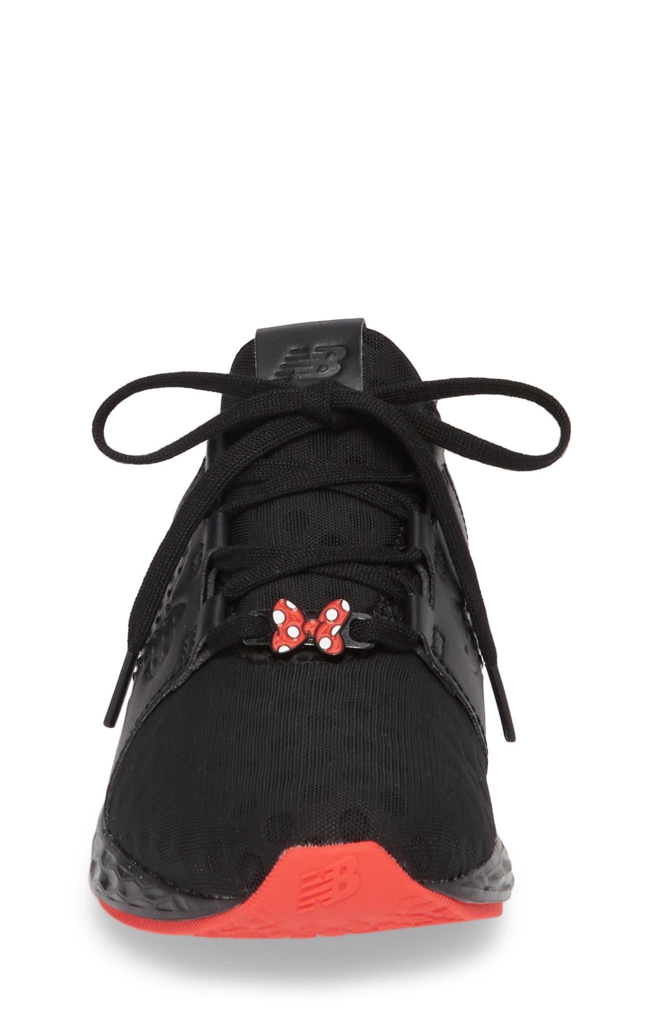 x Disney Minnie Mouse Cruz Sport Sneaker,                             Alternate thumbnail 4, color,                             Black/ Red