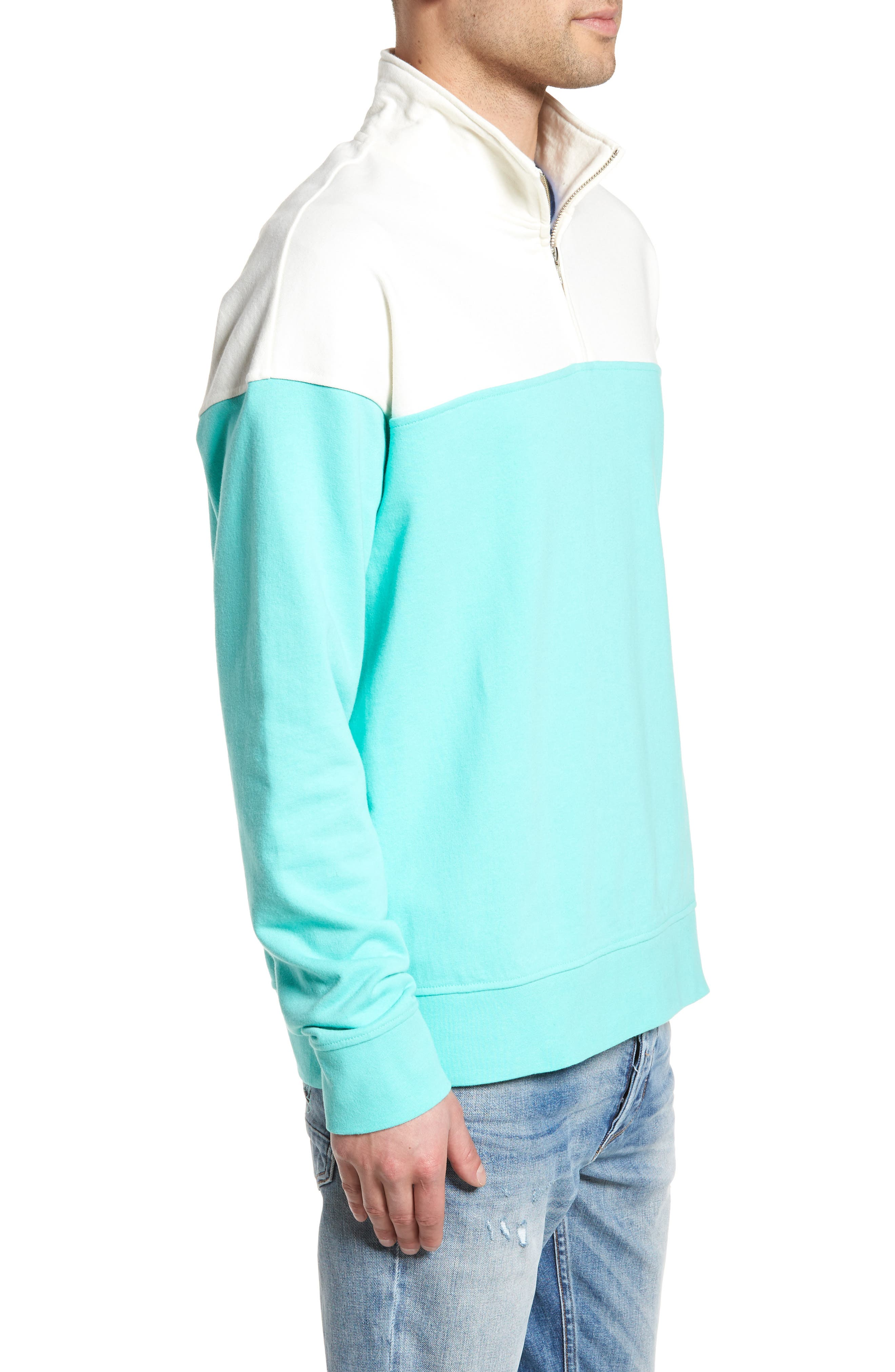 Colorblock Quarter Zip Sweatshirt,                             Alternate thumbnail 3, color,                             Ivory Egret/ Green Largo