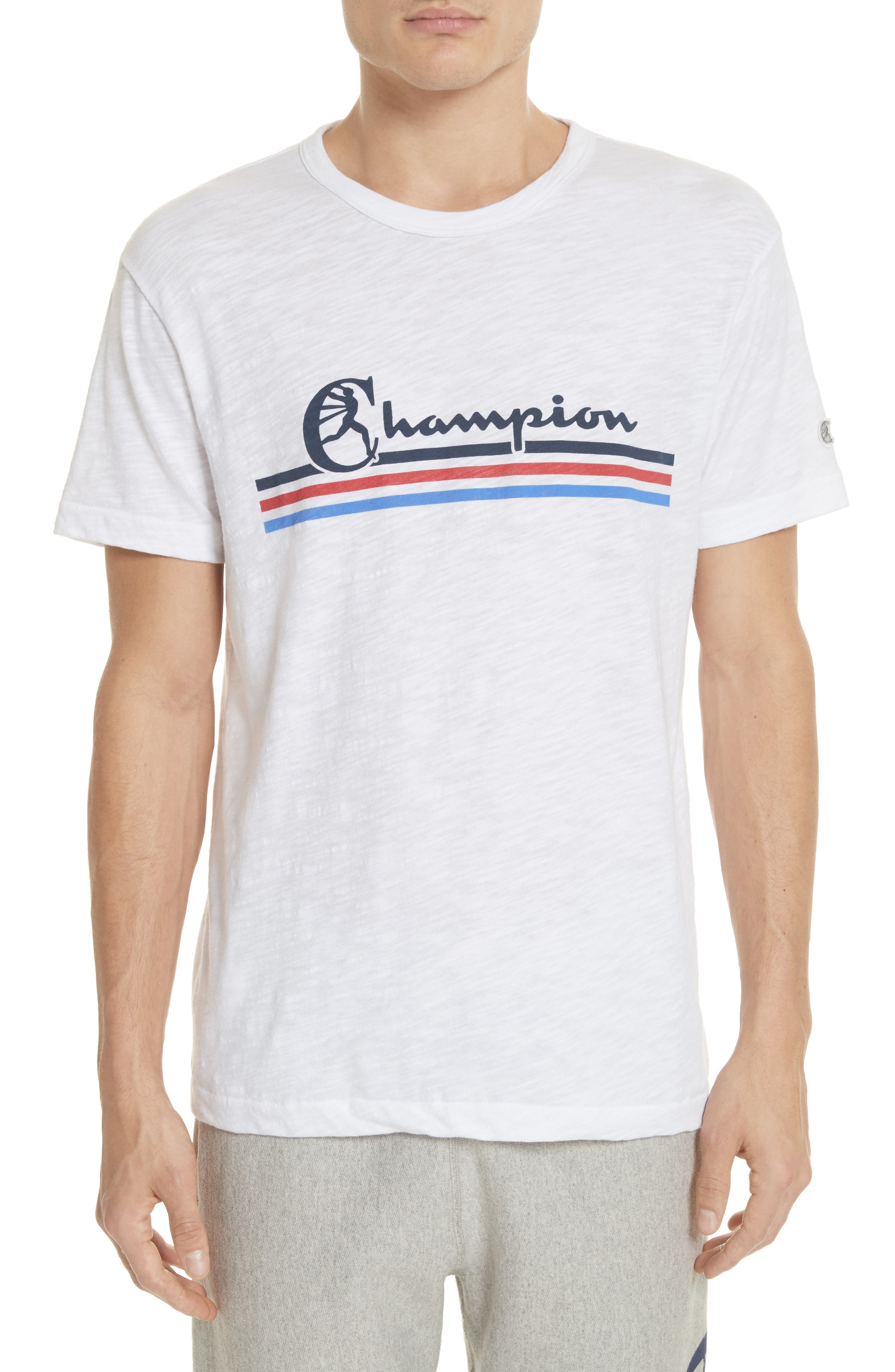 + Champion Stripe Logo T-Shirt,                         Main,                         color, True White