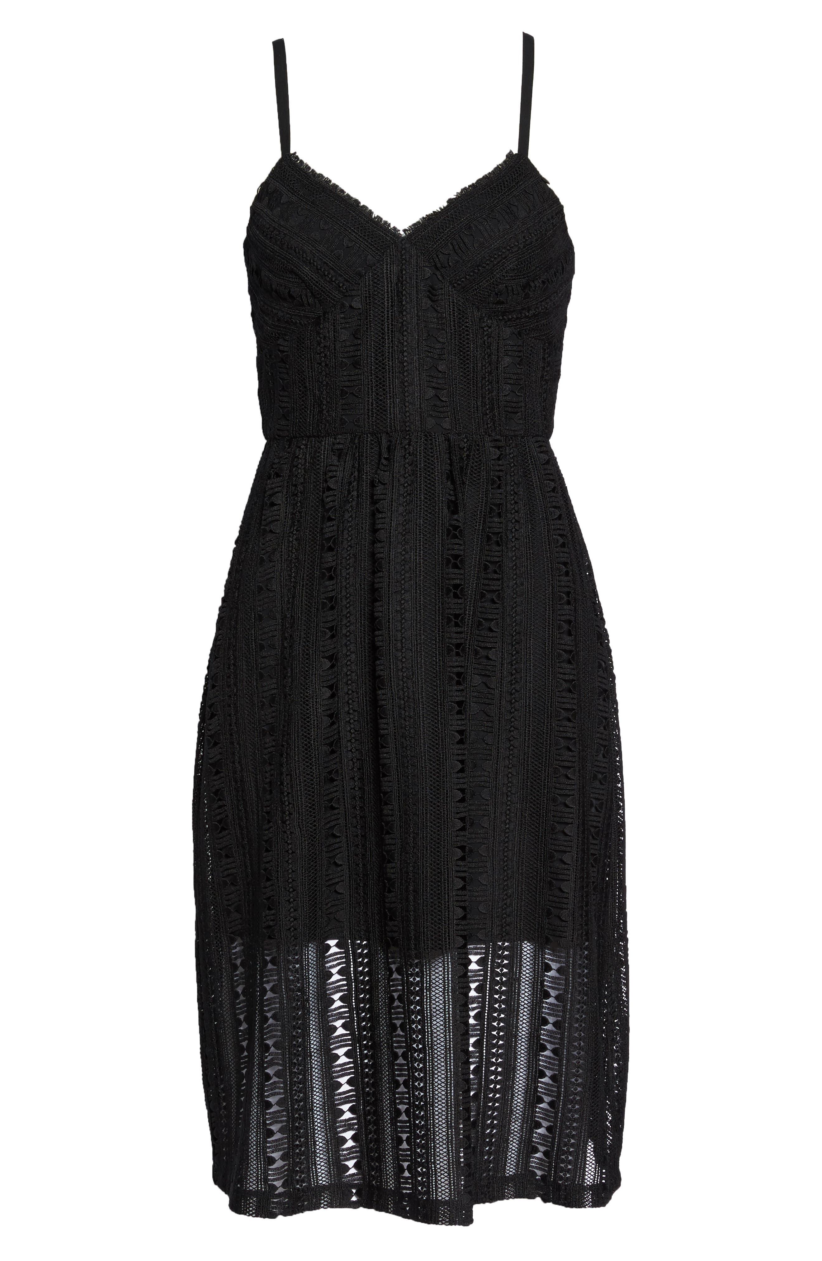 Belissimo Lace Fit & Flare Midi Dress,                             Alternate thumbnail 7, color,                             Black