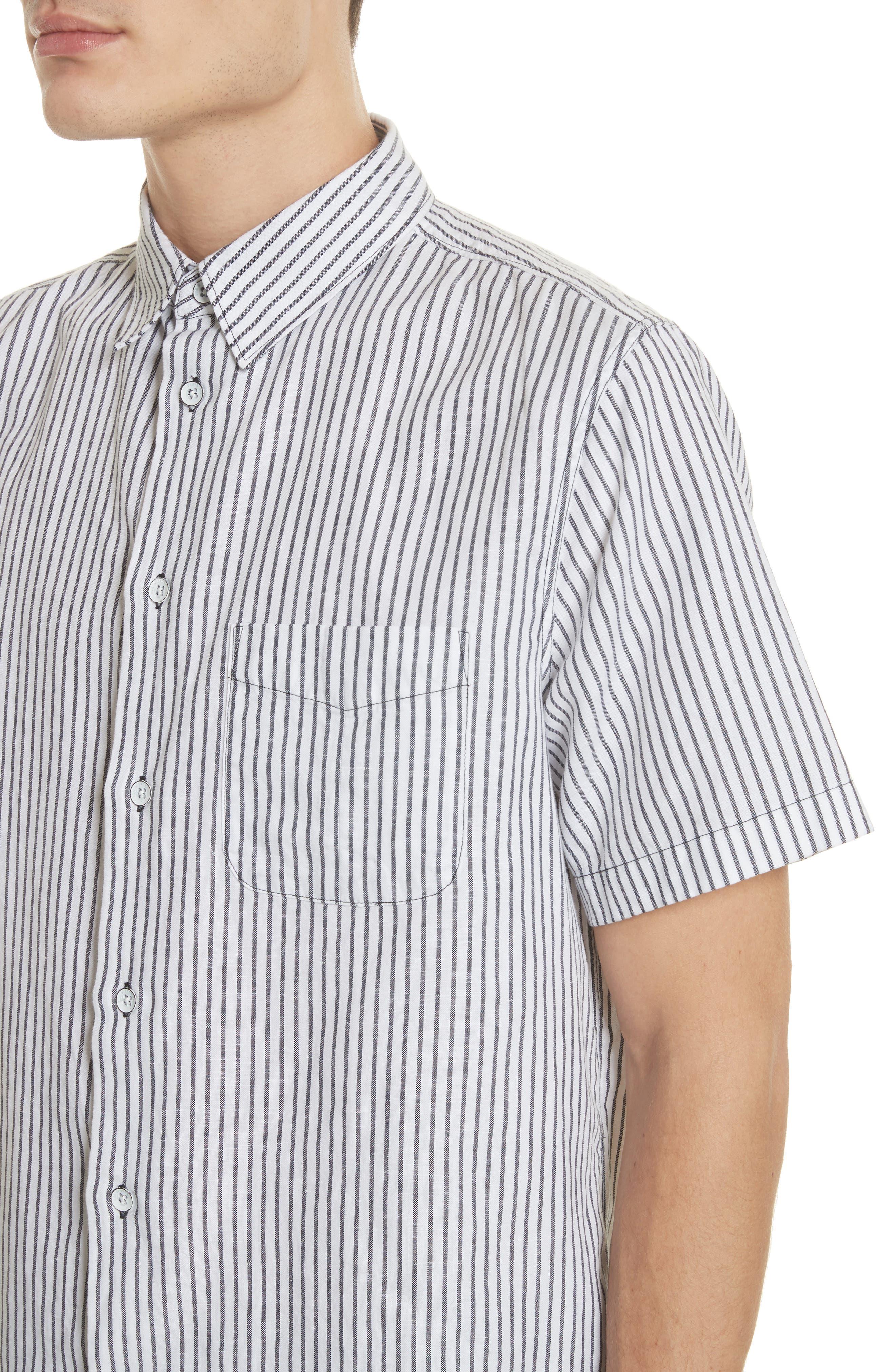 Stripe Short Sleeve Sport Shirt,                             Alternate thumbnail 2, color,                             White/Navy