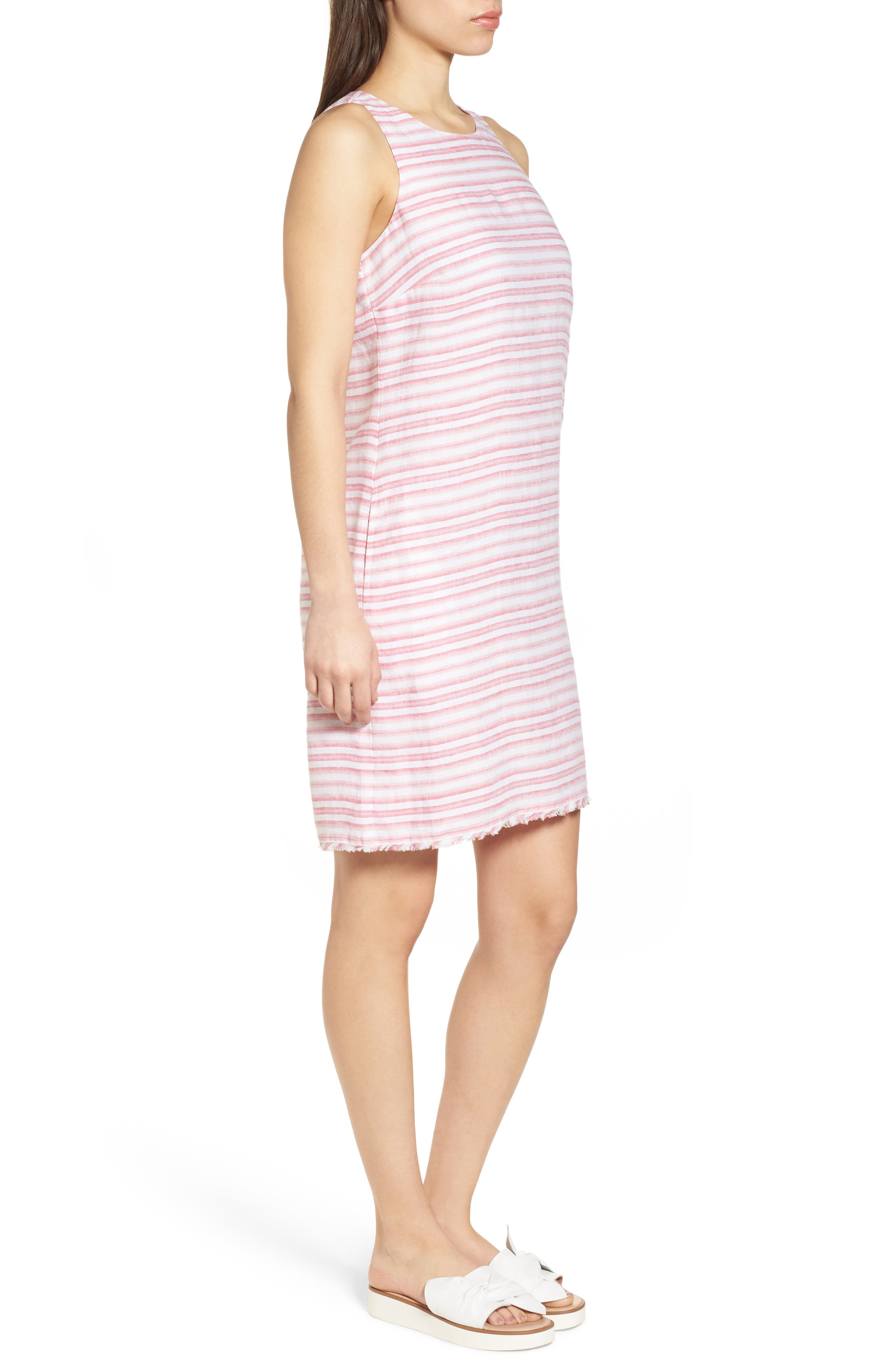 Bella Hermosa Linen Shift Dress,                             Alternate thumbnail 3, color,                             French Rose
