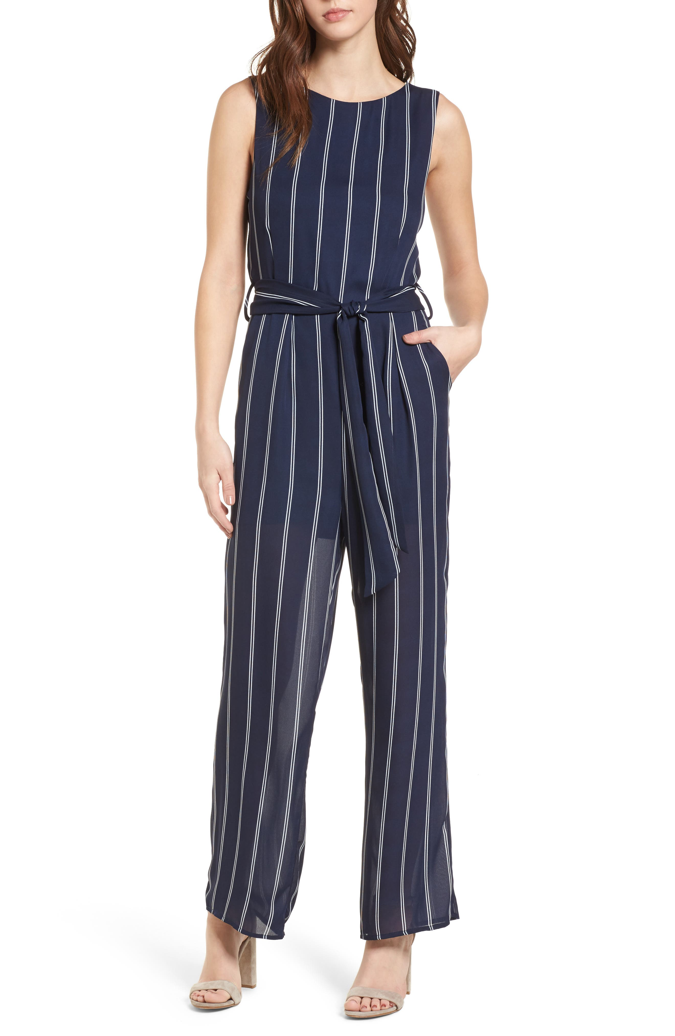 Stripe Jumpsuit,                         Main,                         color, Navy/Ivory