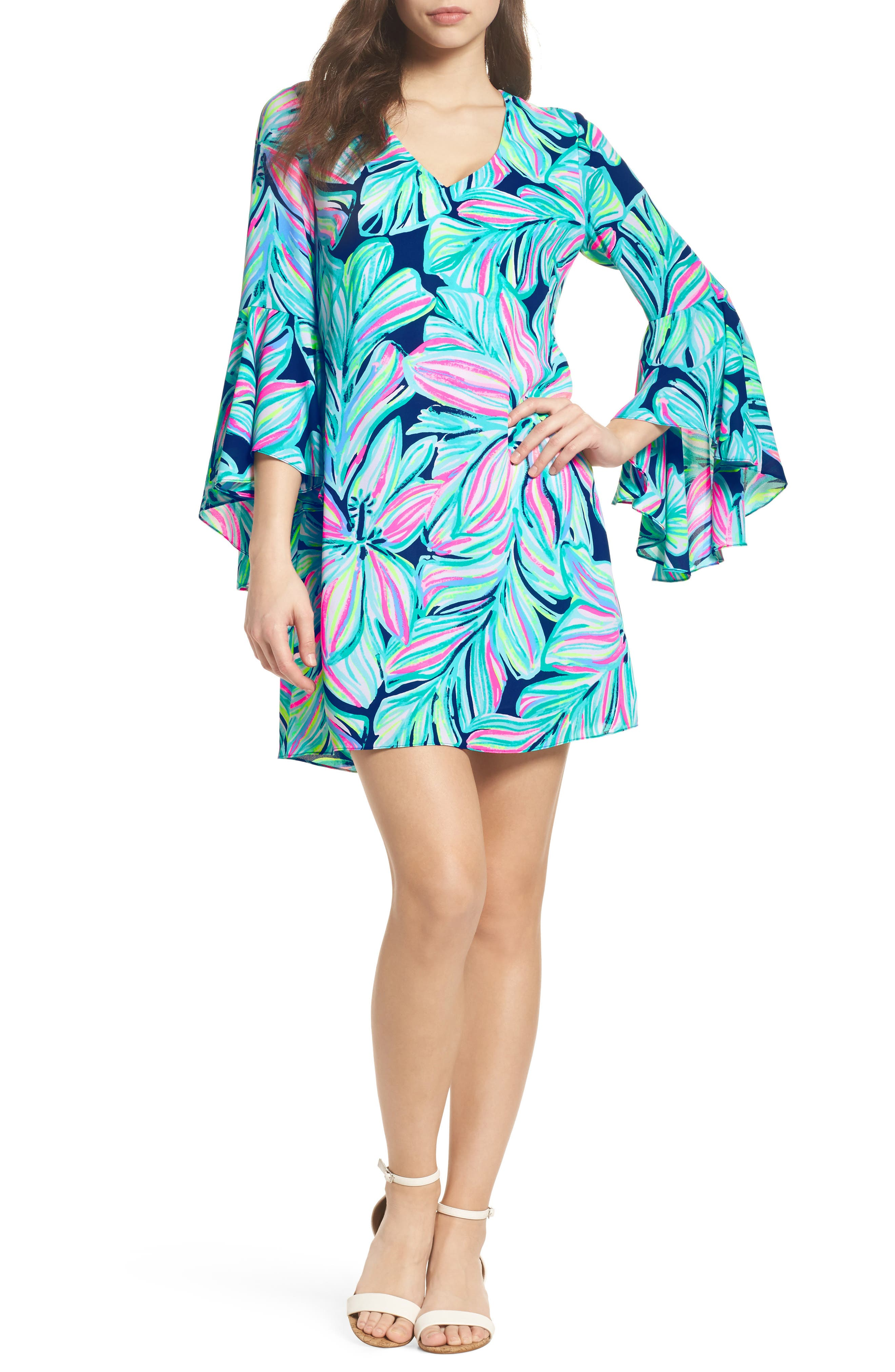 Rosalia Bell Sleeve A-Line Dress,                         Main,                         color, High Tide Navy Dancing Lady