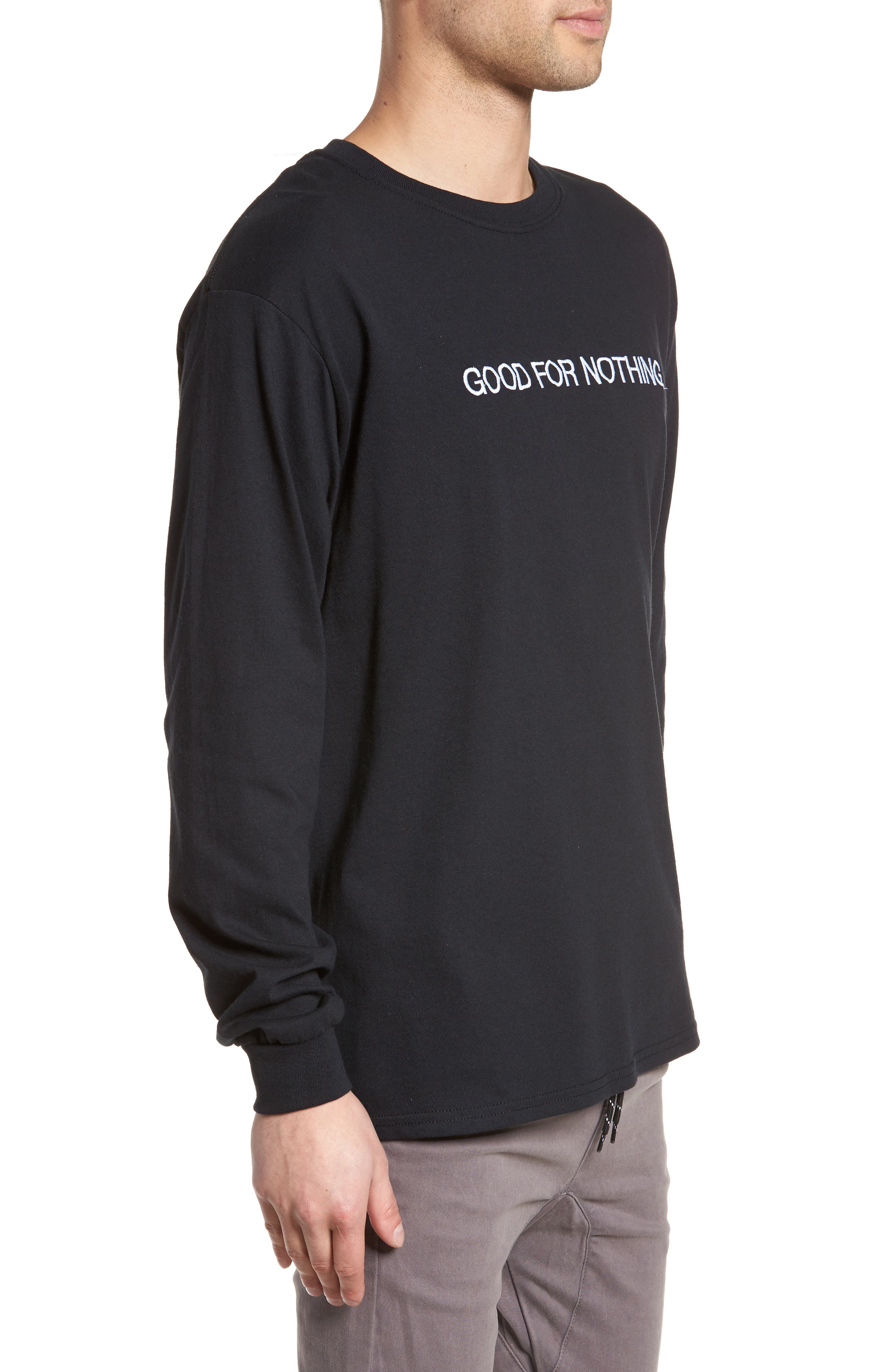 Good for Nothing Embroidered T-Shirt,                             Alternate thumbnail 3, color,                             Black Good For