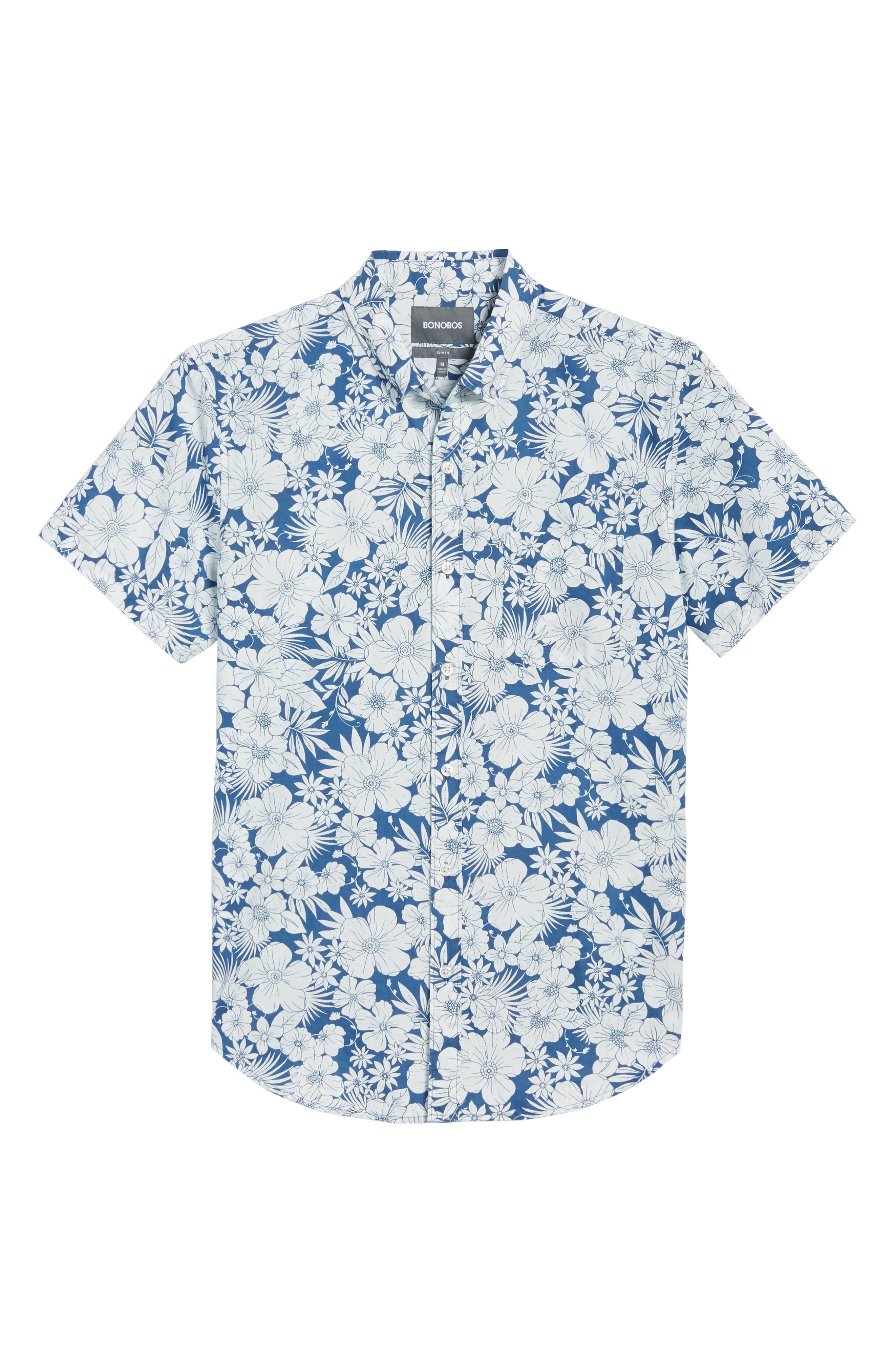 Slim Fit Print Short Sleeve Sport Shirt,                             Alternate thumbnail 6, color,                             Harland Floral - Maritime Blue