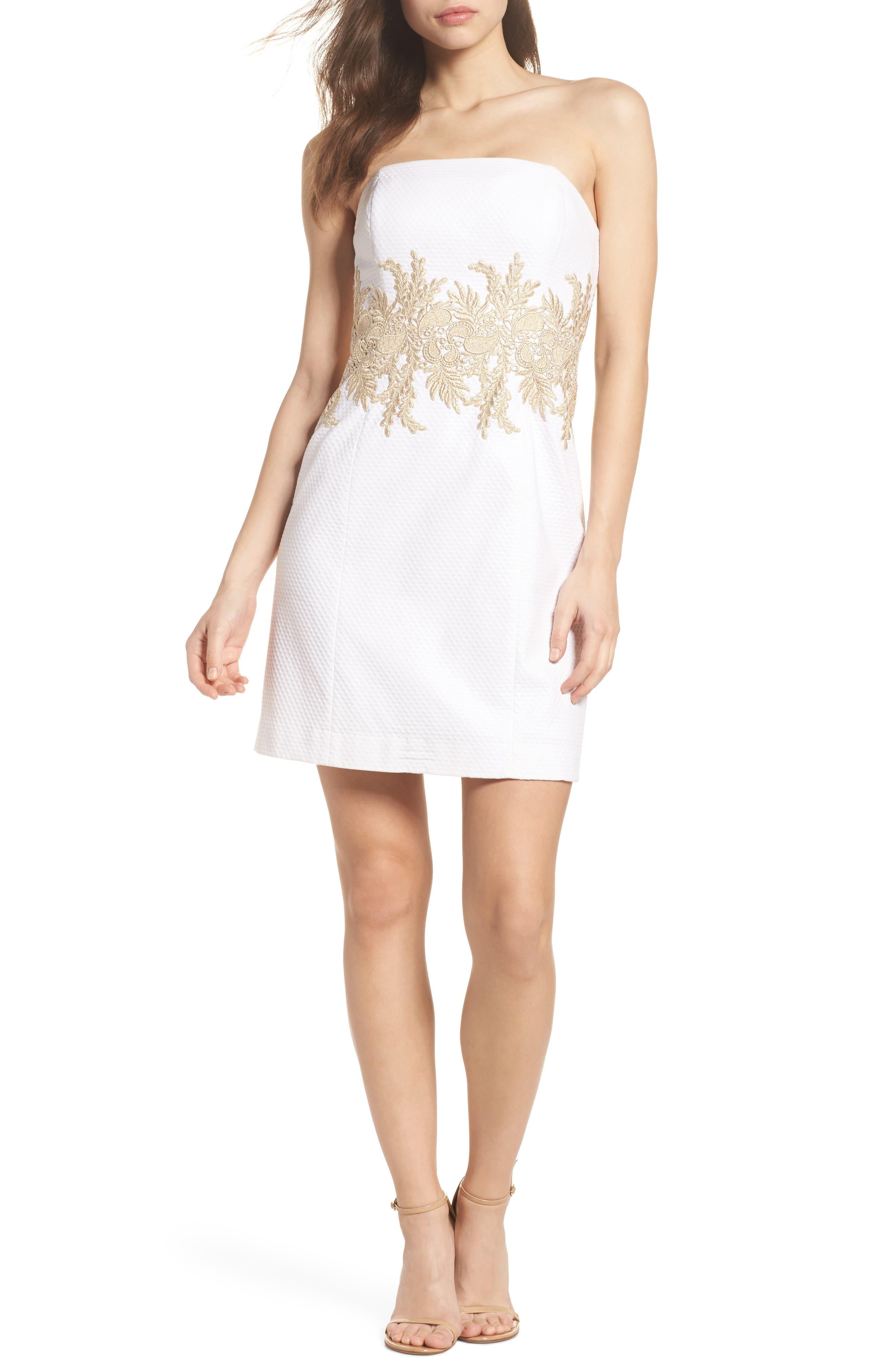 Kade Strapless Dress,                             Main thumbnail 1, color,                             Resort White