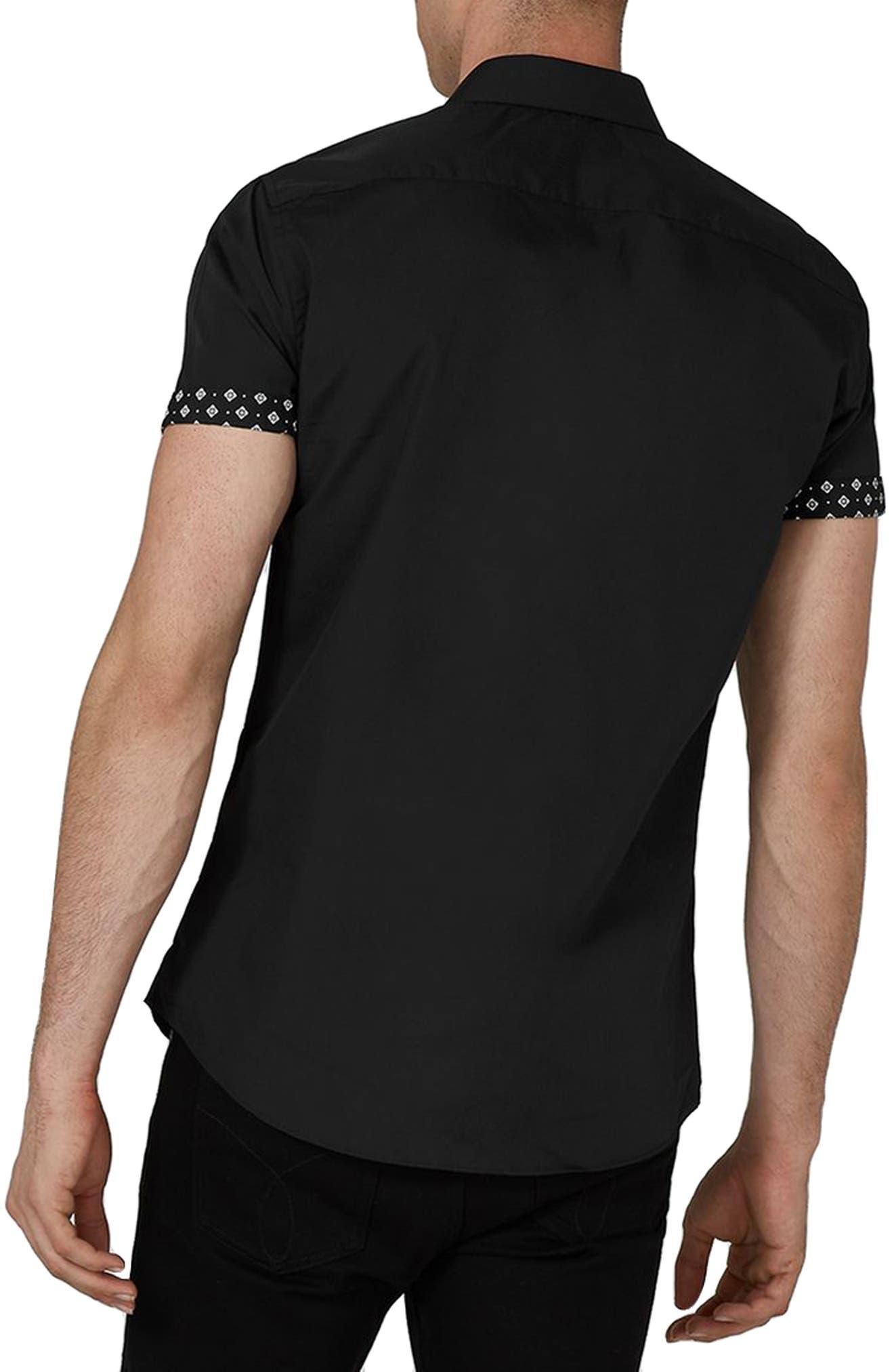 Slim Fit Geo Print Shirt,                             Alternate thumbnail 2, color,                             Black Multi