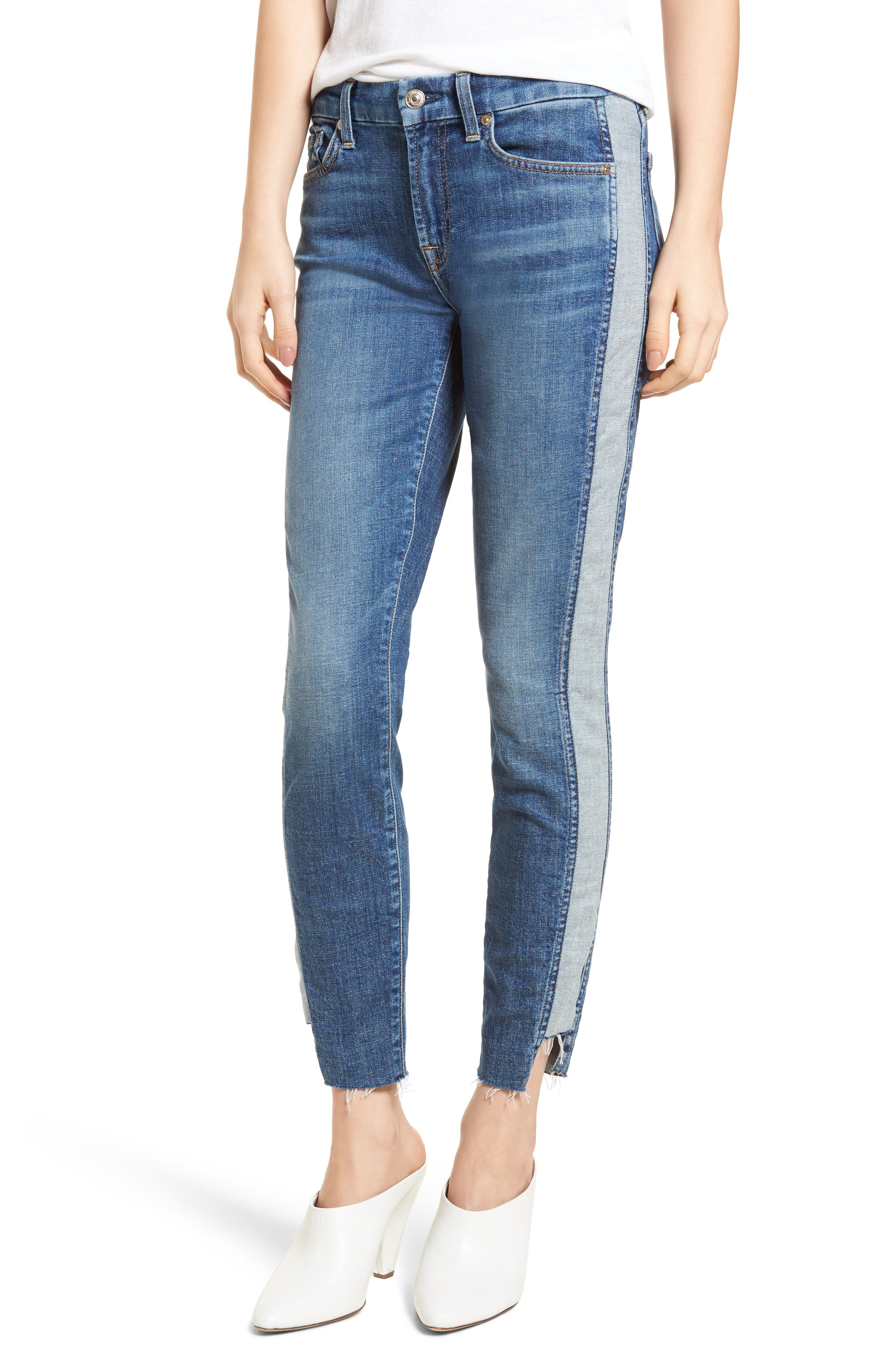 Main Image - 7 For All Mankind® Side Panel Inset Ankle Skinny Jeans (Mojave Dusk)
