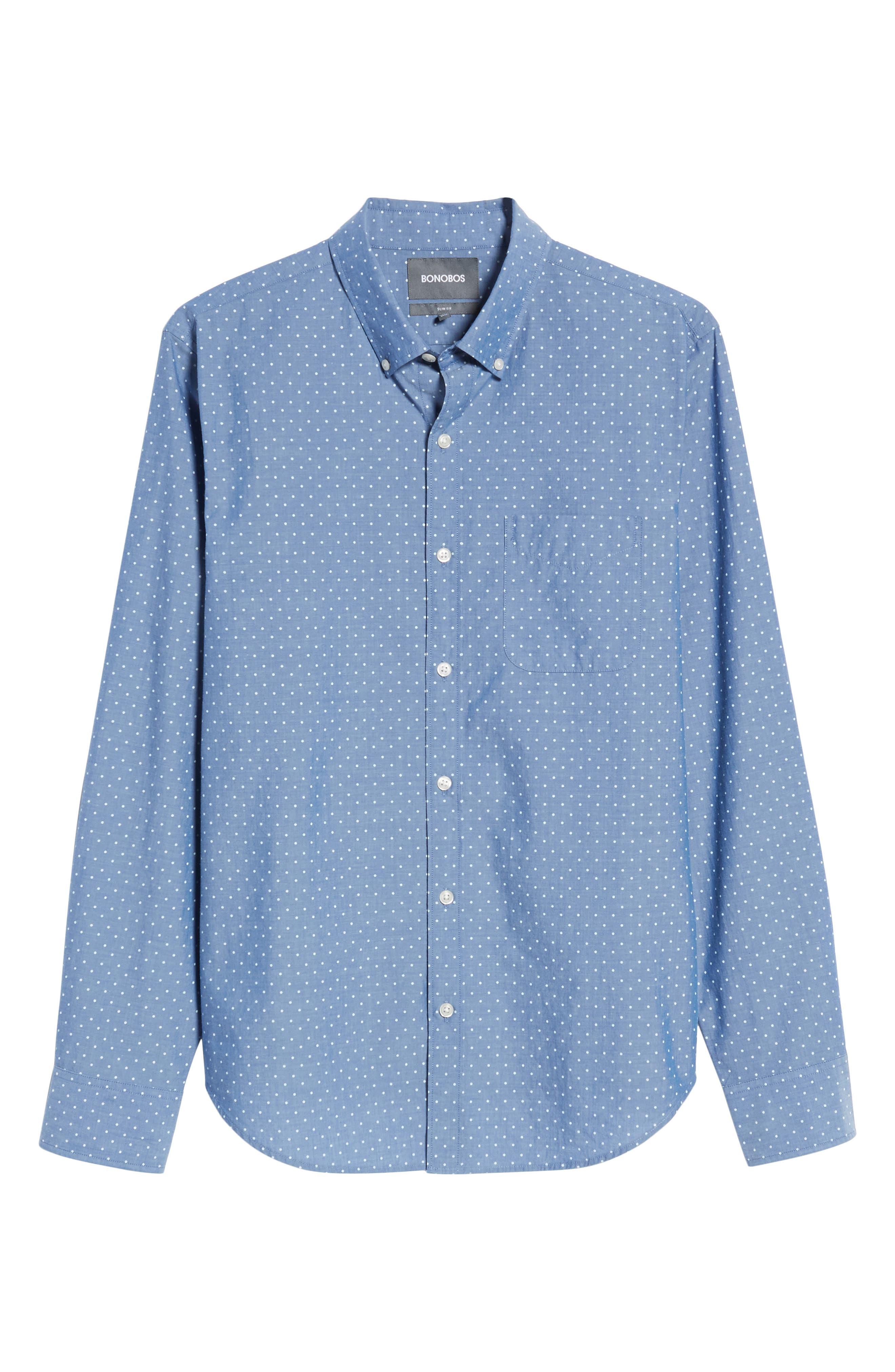 Slim Fit Summerweight Dot Sport Shirt,                             Alternate thumbnail 6, color,                             Galaxy Blue