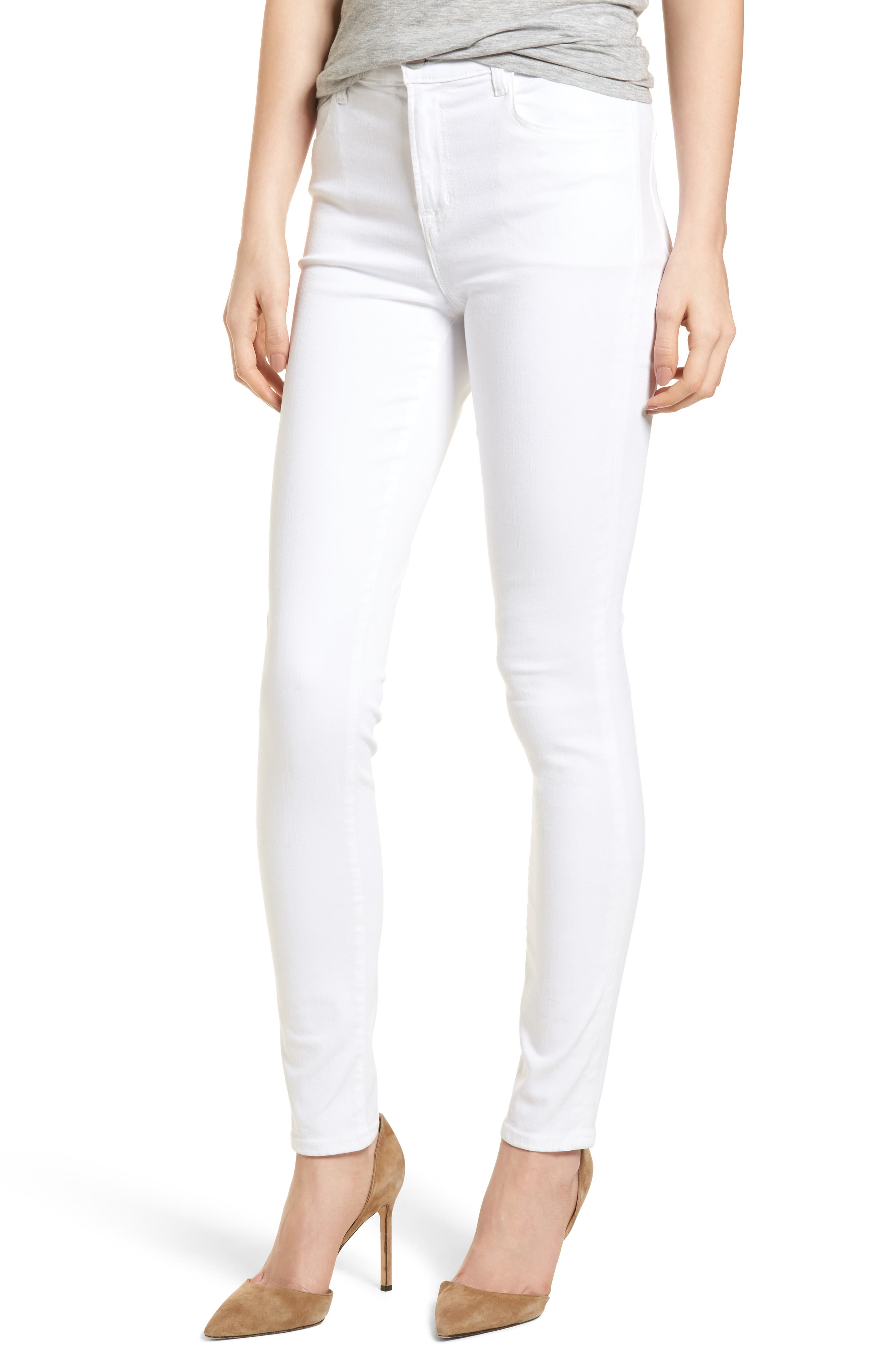 Maria High Waist Skinny Jeans,                         Main,                         color, White