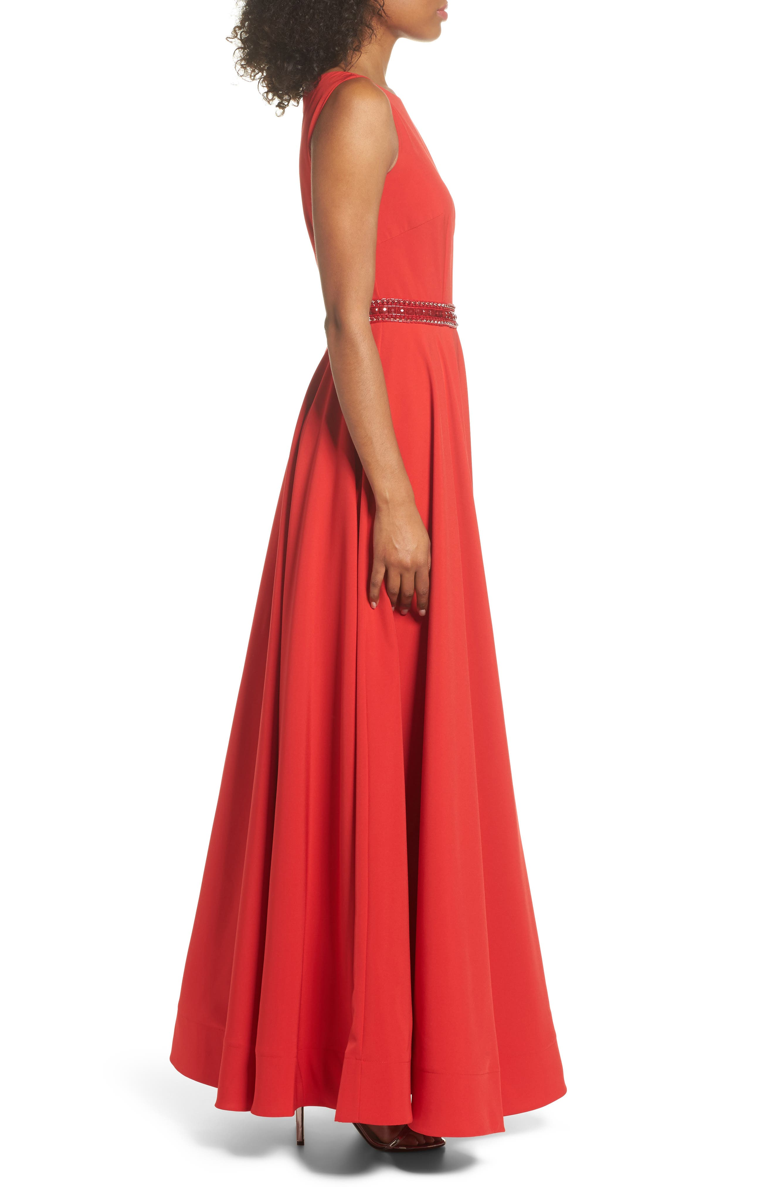 Beaded Waist Gown,                             Alternate thumbnail 3, color,                             Red