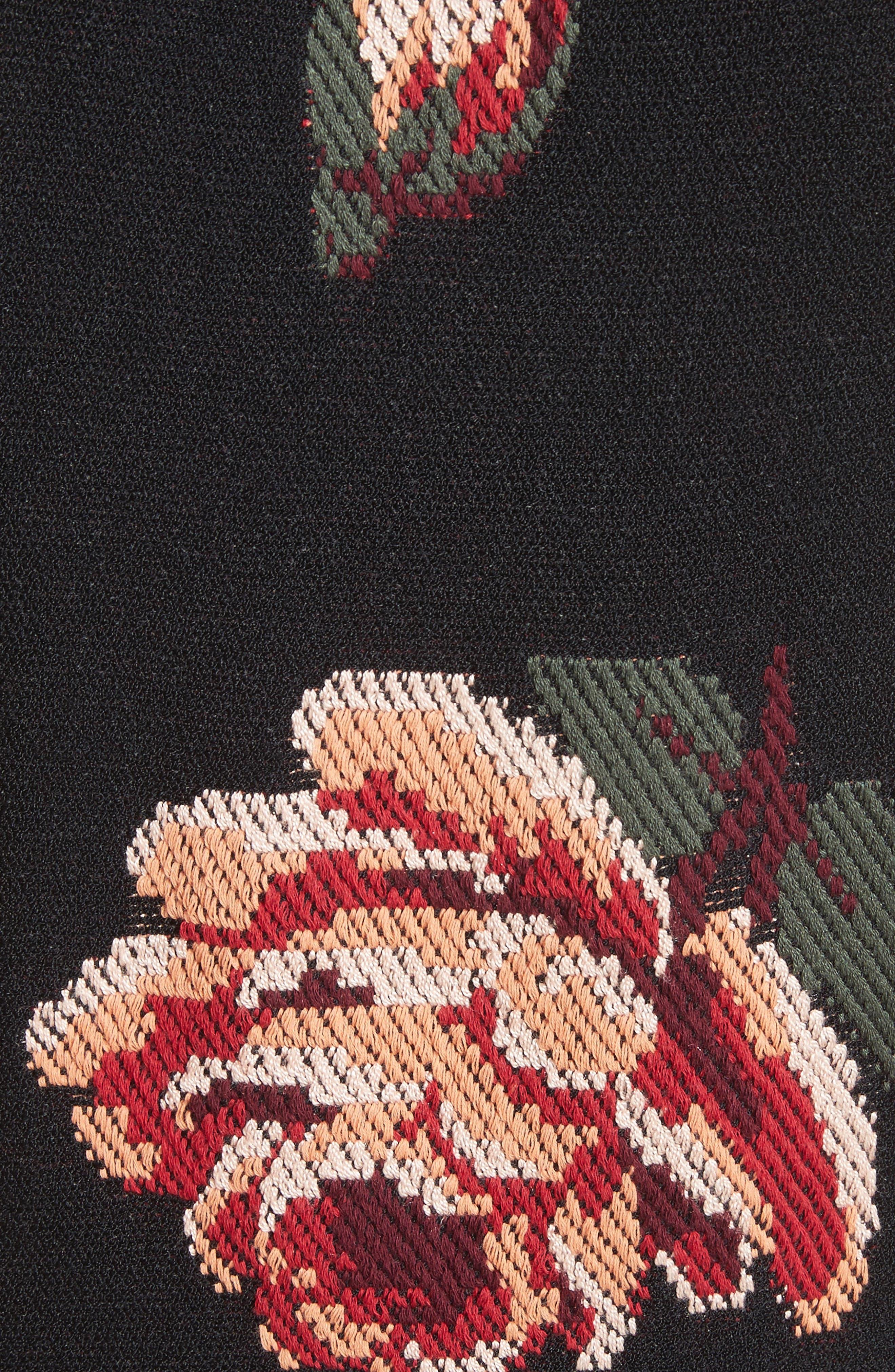 Intarsia Floral Print Dress,                             Alternate thumbnail 5, color,                             Black/ Red/ Green