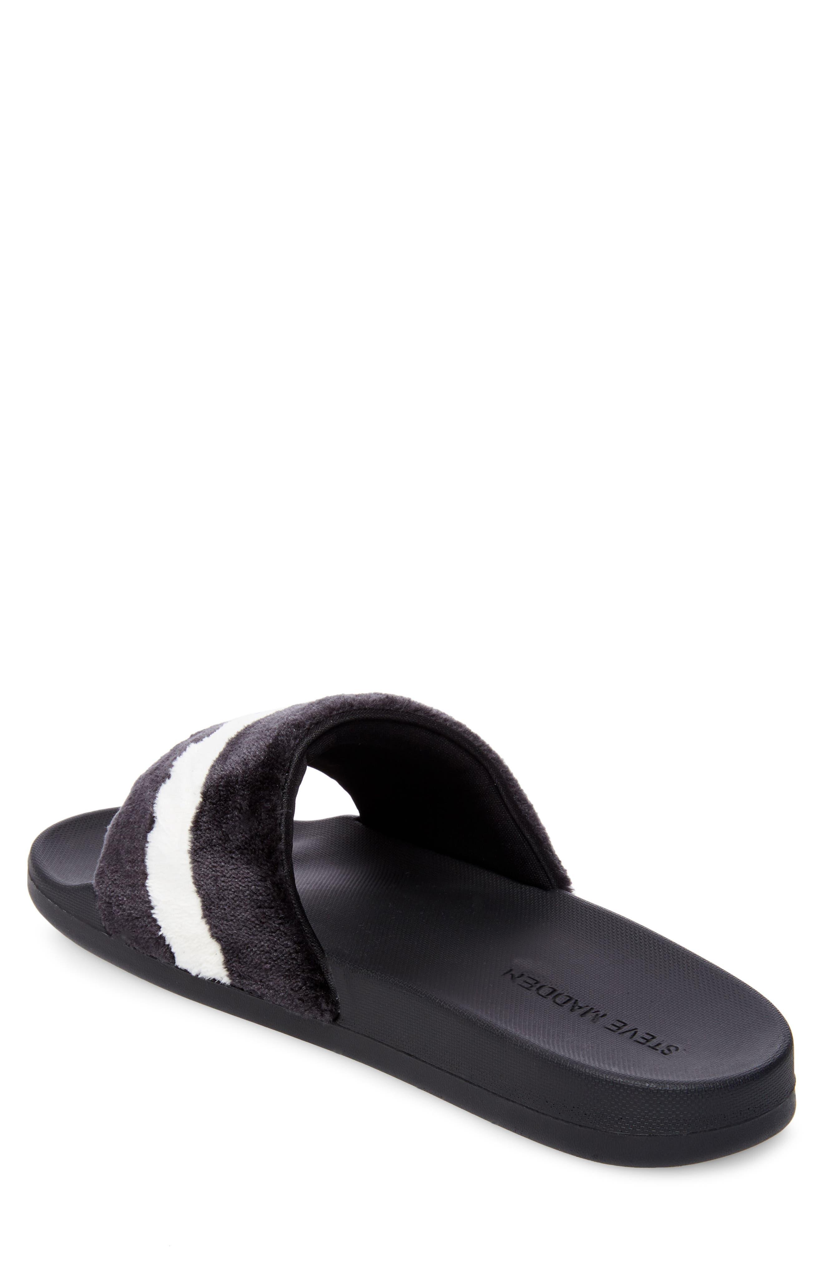 Resport Plush Slide Sandal,                             Alternate thumbnail 2, color,                             Black/ White