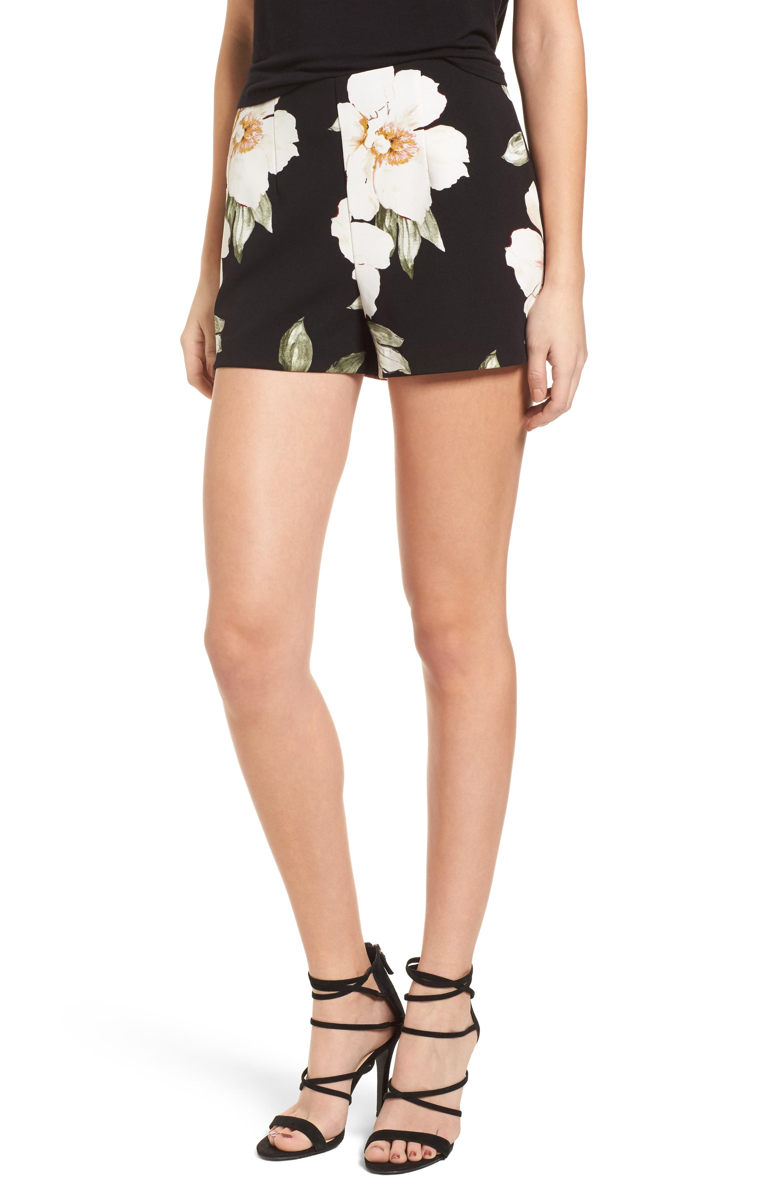 High Waist Shorts,                             Main thumbnail 1, color,                             Black Exploded Floral