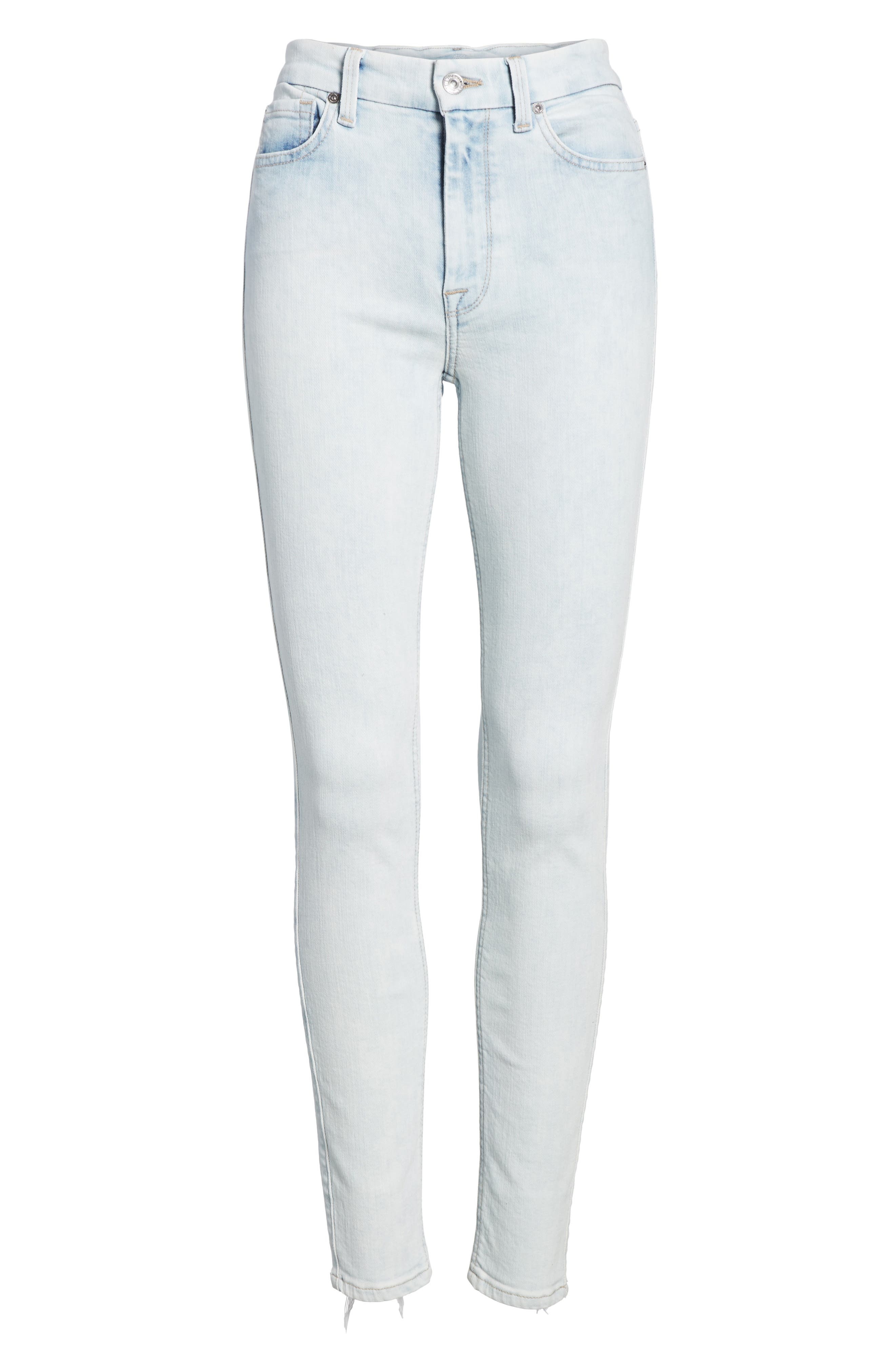 High Waist Ankle Skinny Jeans,                             Alternate thumbnail 6, color,                             Bleached Out