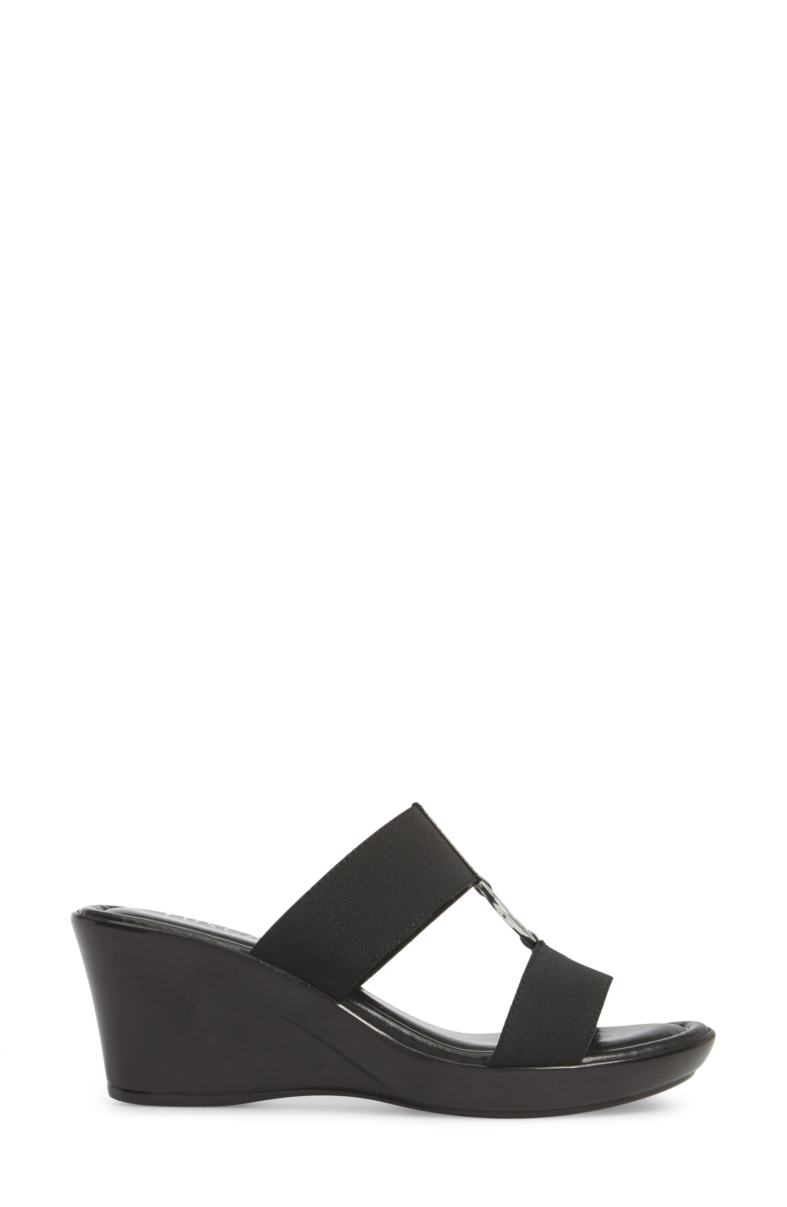 by Easy Street<sup>®</sup> Marietta Slide Sandal,                             Alternate thumbnail 3, color,                             Black Patent Faux Leather