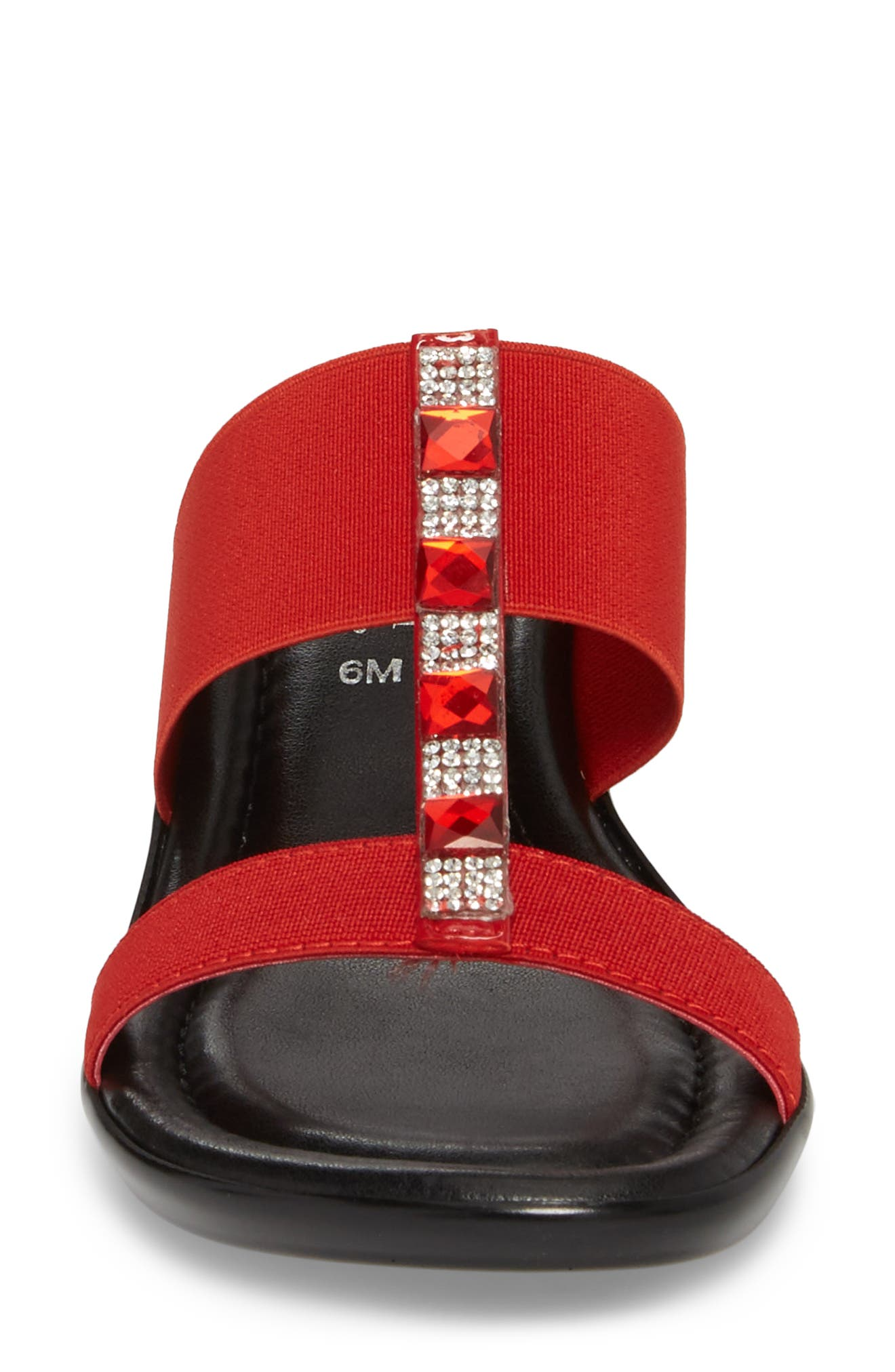 by Easy Street<sup>®</sup> Elba Embellished Slide Sandal,                             Alternate thumbnail 4, color,                             Red Stretch Faux Leather