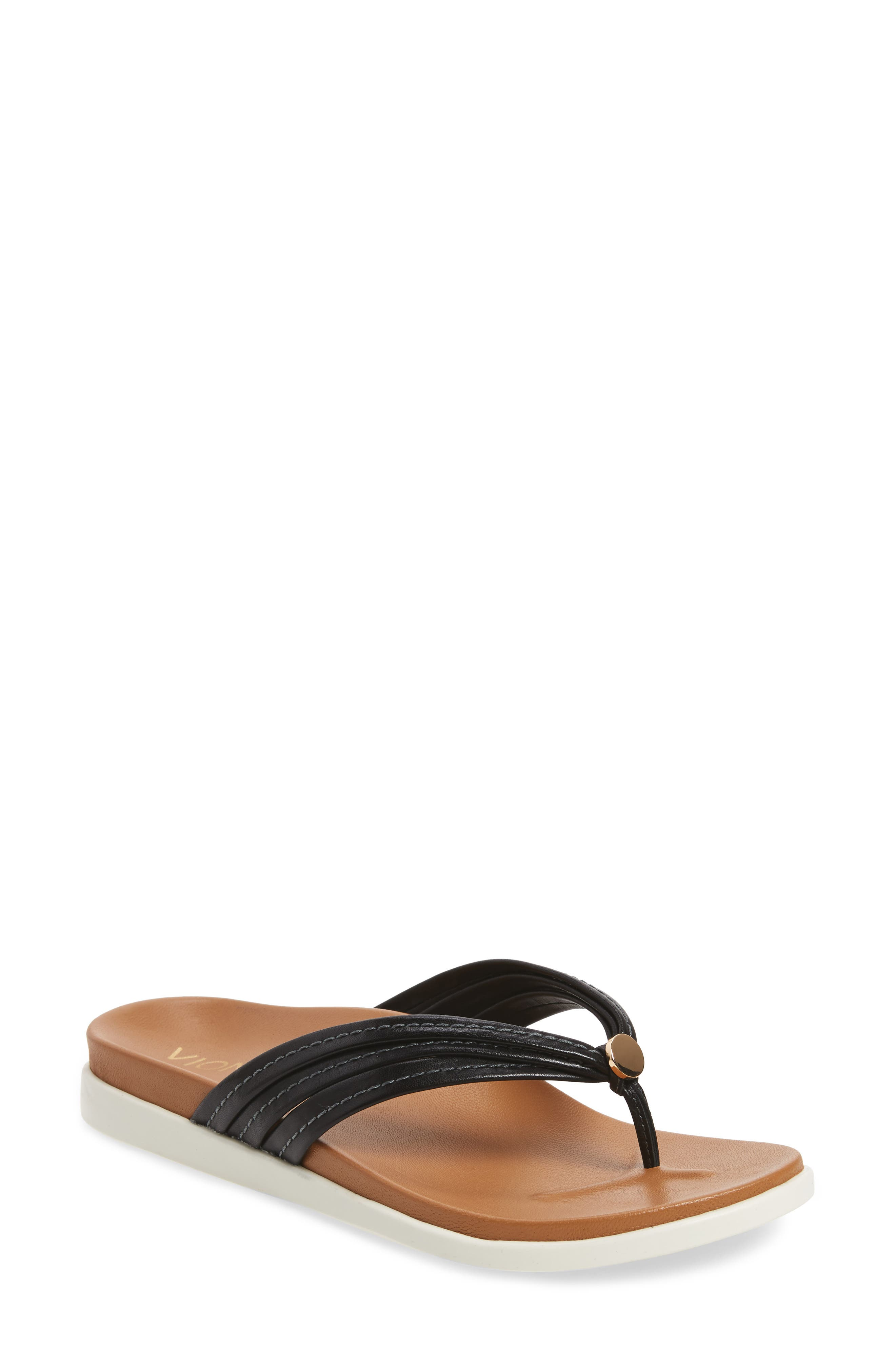 Catalina Flip Flop,                         Main,                         color, Black Leather
