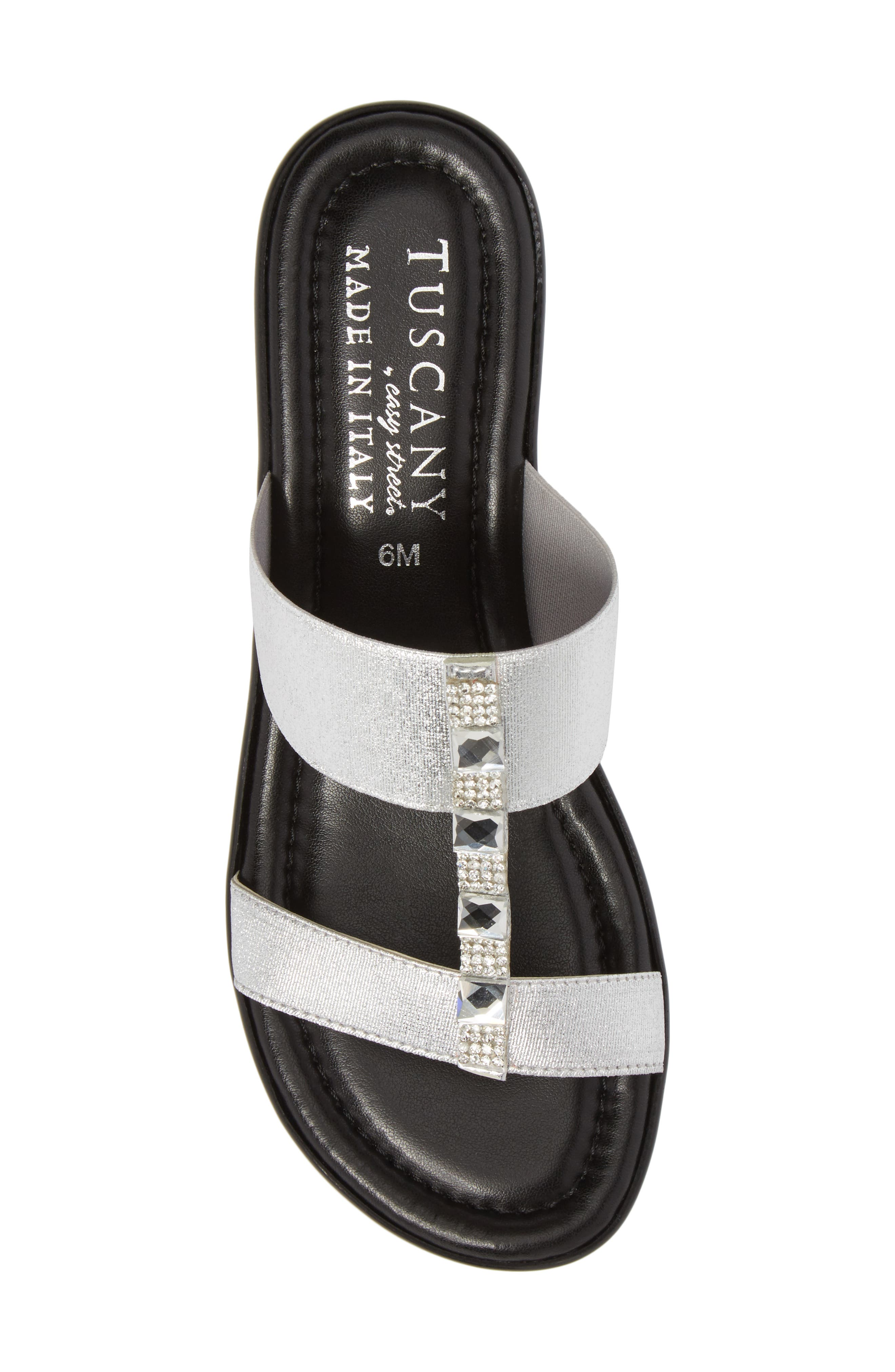 by Easy Street<sup>®</sup> Elba Embellished Slide Sandal,                             Alternate thumbnail 5, color,                             Silver Stretch Faux Leather
