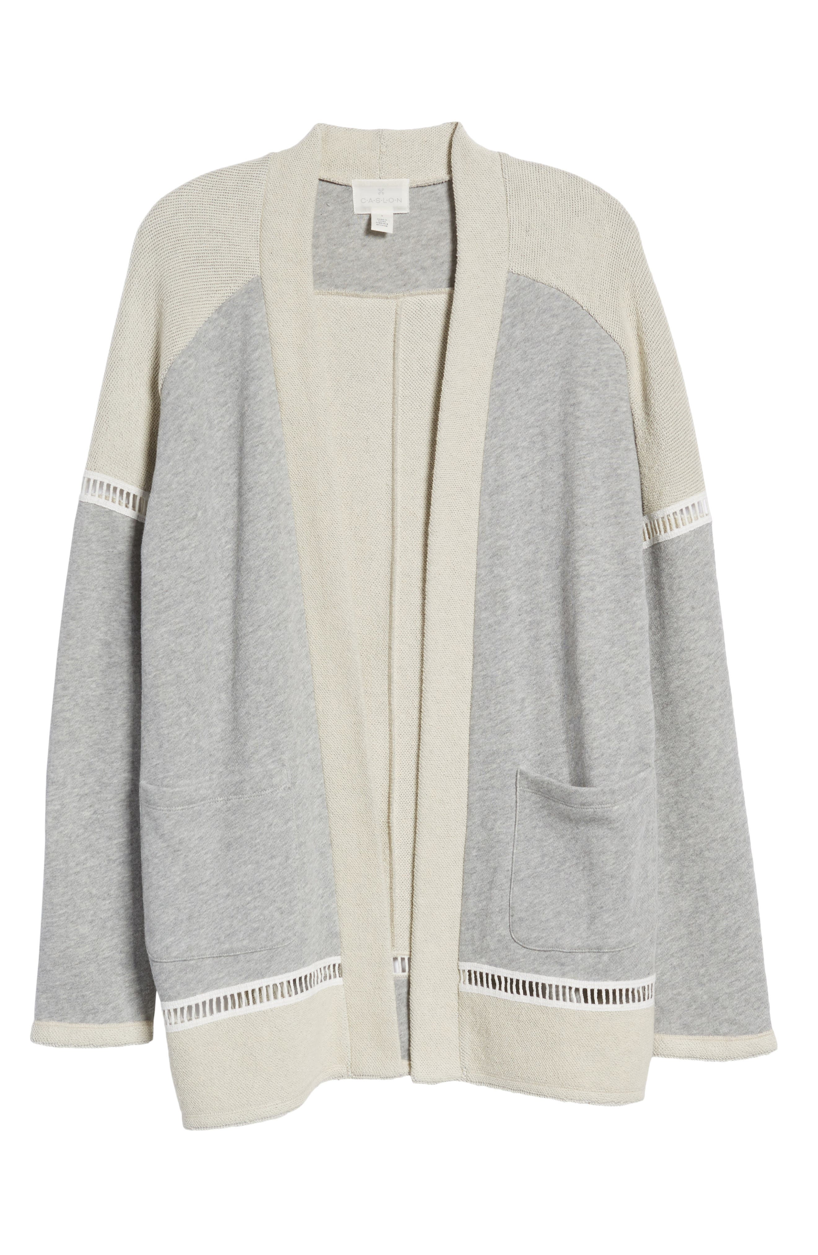 French Terry Open Front Cotton Cardigan,                             Alternate thumbnail 6, color,                             Grey Heather