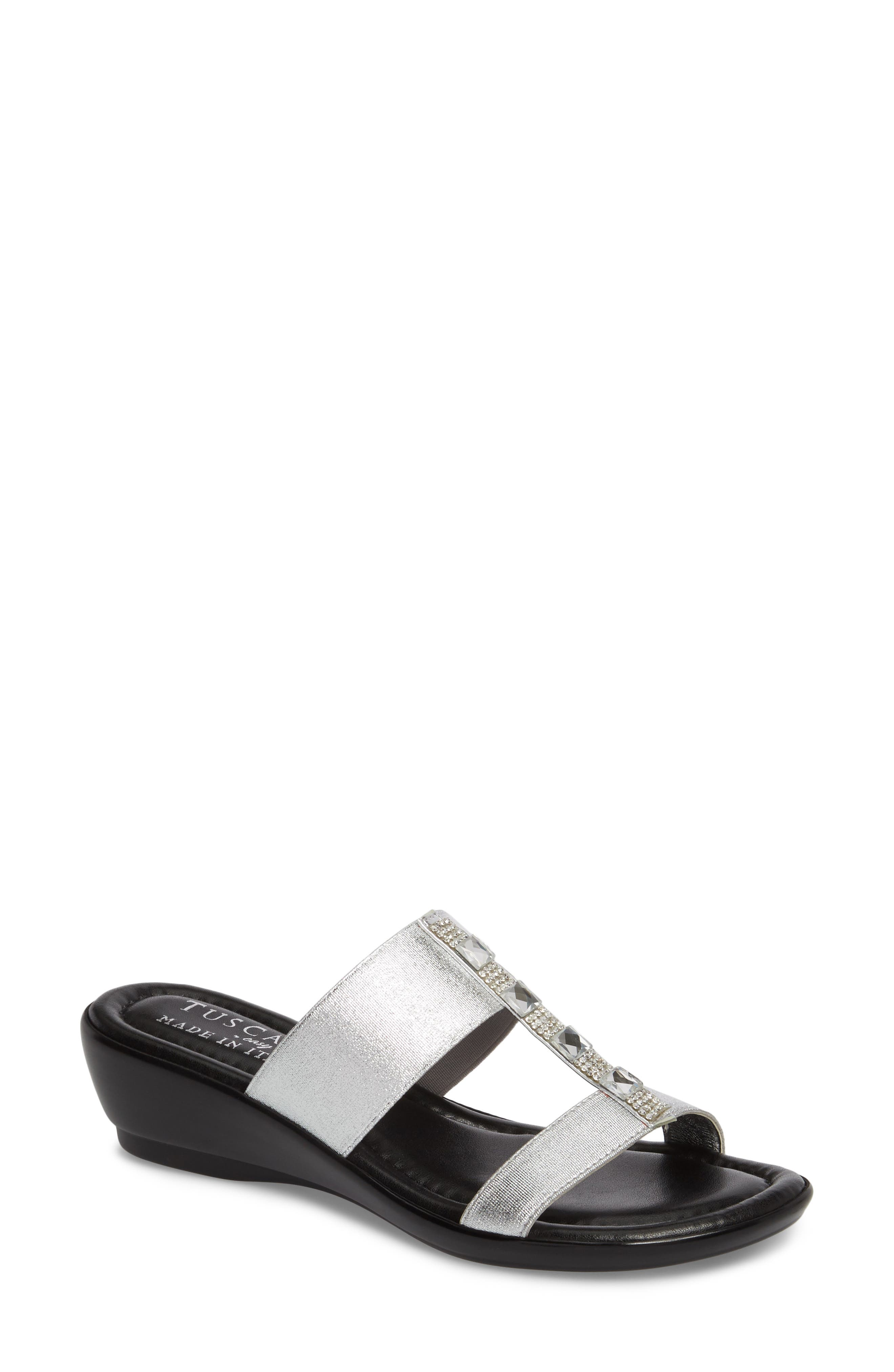 by Easy Street<sup>®</sup> Elba Embellished Slide Sandal,                         Main,                         color, Silver Stretch Faux Leather