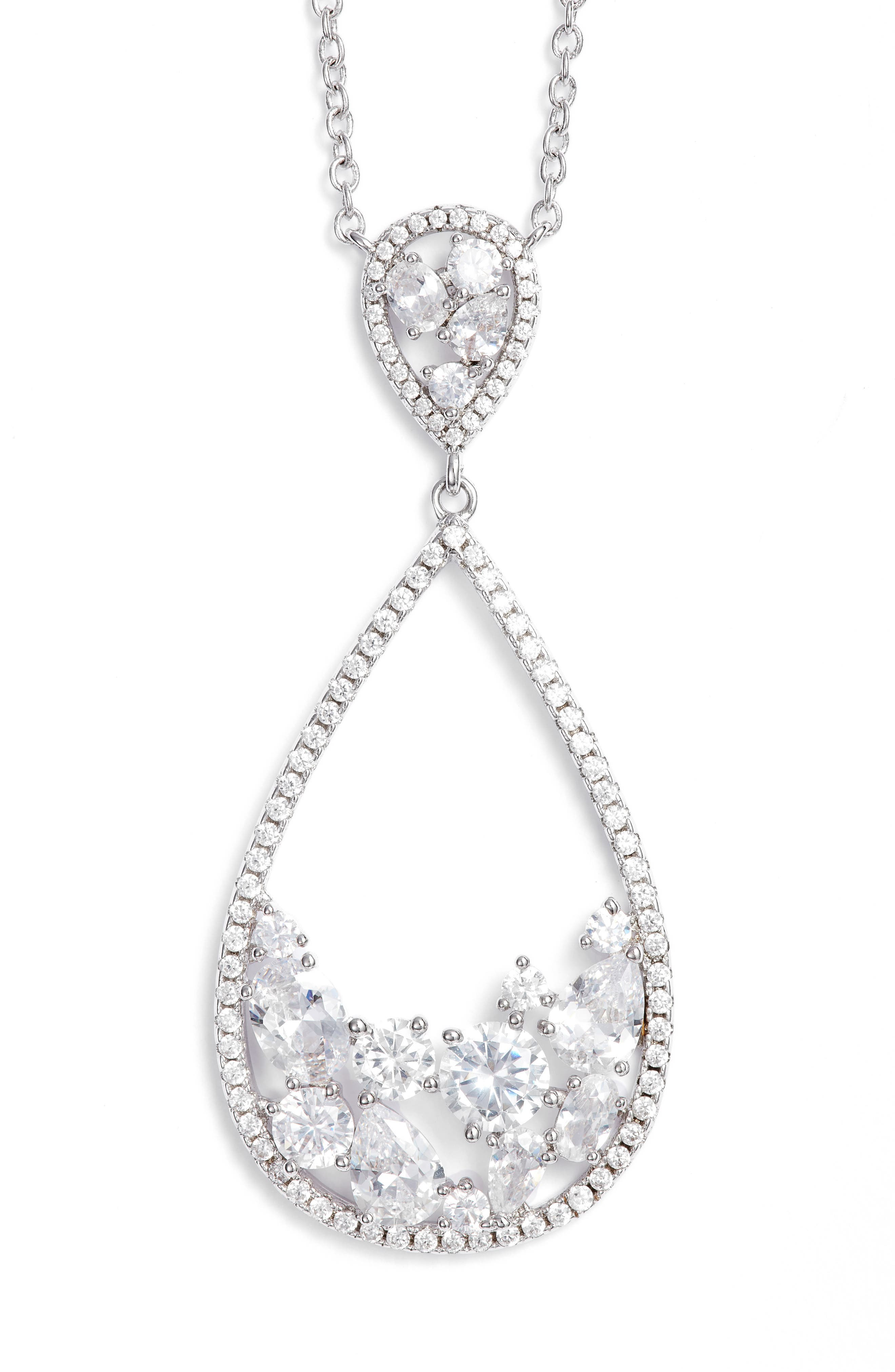 Stone Cluster Open Teardrop Pendant Necklace,                         Main,                         color, Silver/ White Cz
