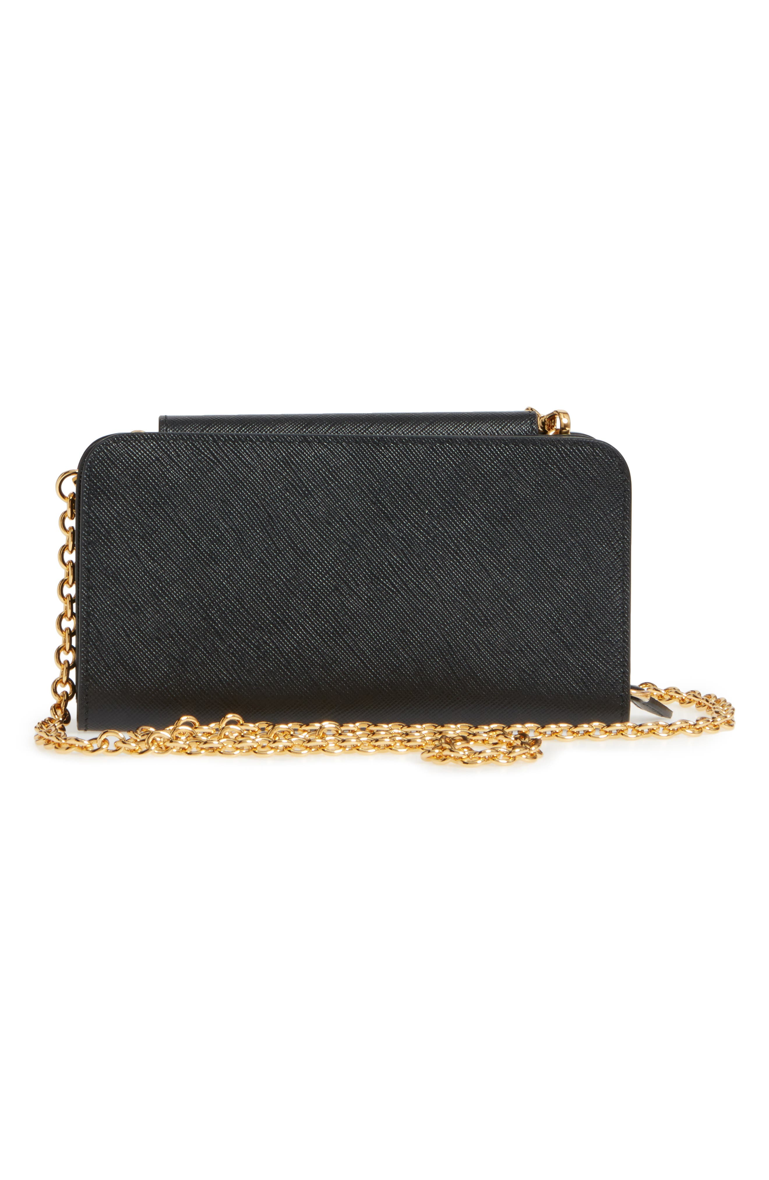 Saffiano Leather Metal Oral Phone Wallet on a Chain,                             Alternate thumbnail 4, color,                             Nero