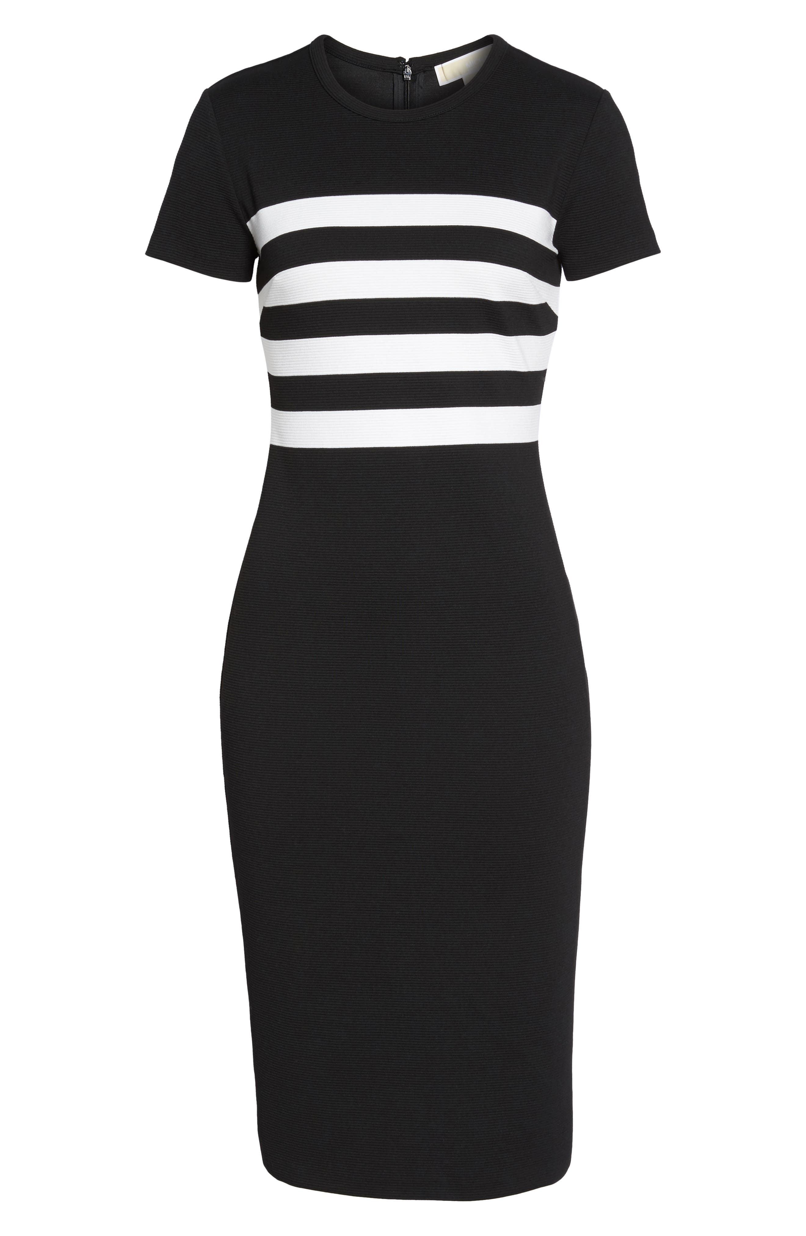 Stripe Ottoman Sheath Dress,                             Alternate thumbnail 6, color,                             Black/ White