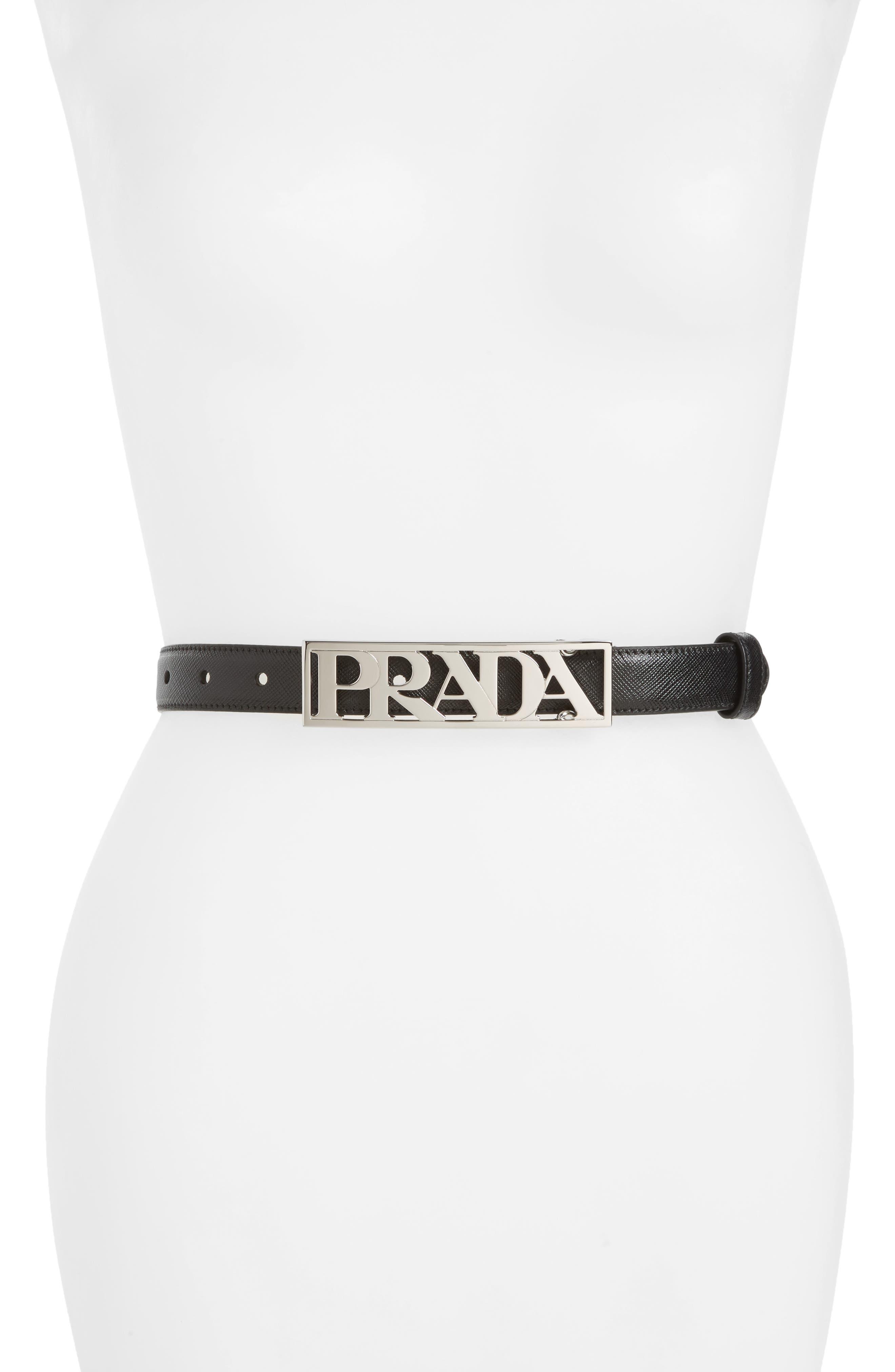 Prada Block Saffiano Calfskin Leather Skinny Belt