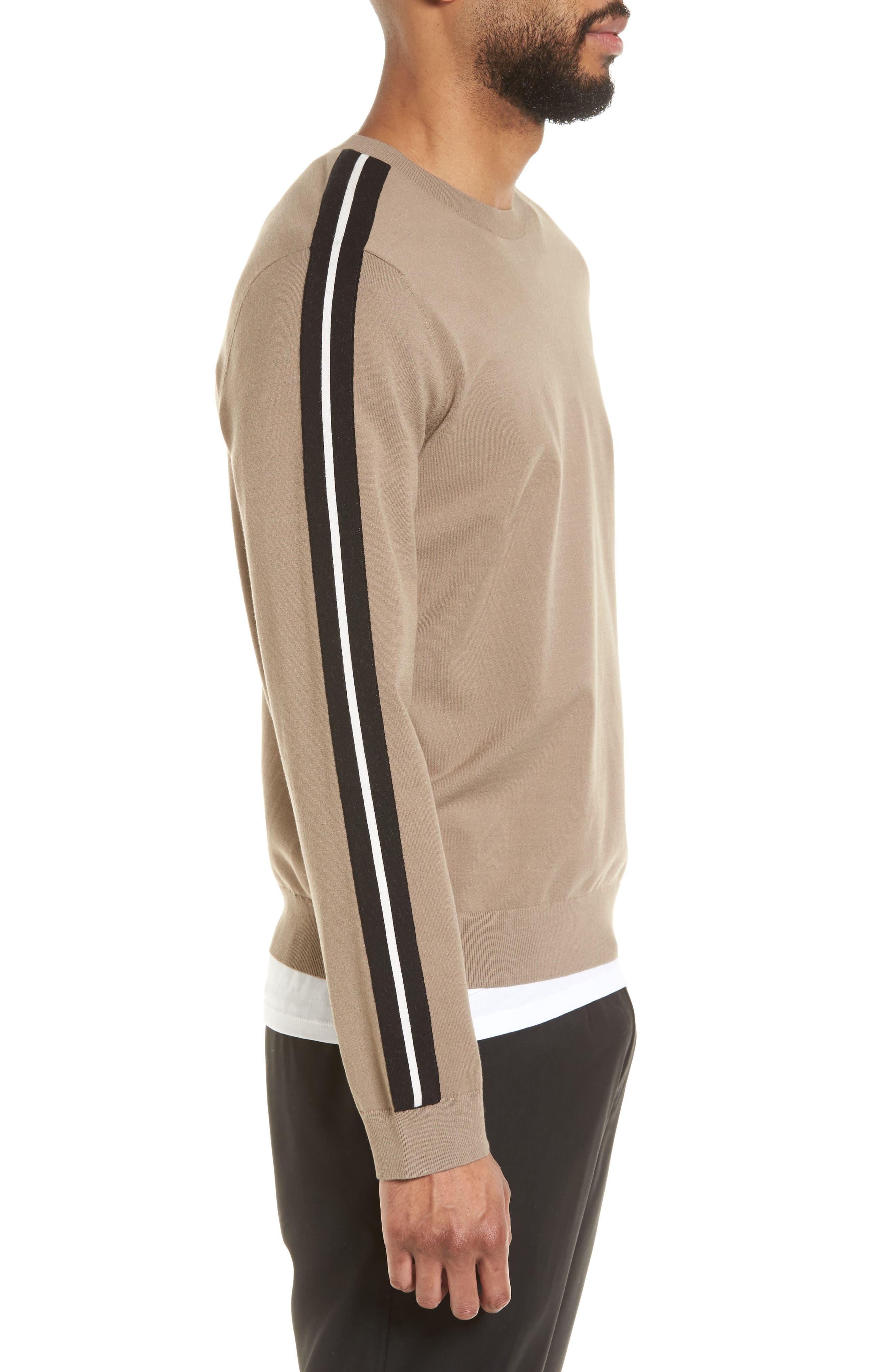 Track Stripe Crewneck Sweater,                             Alternate thumbnail 3, color,                             Pebble Taupe