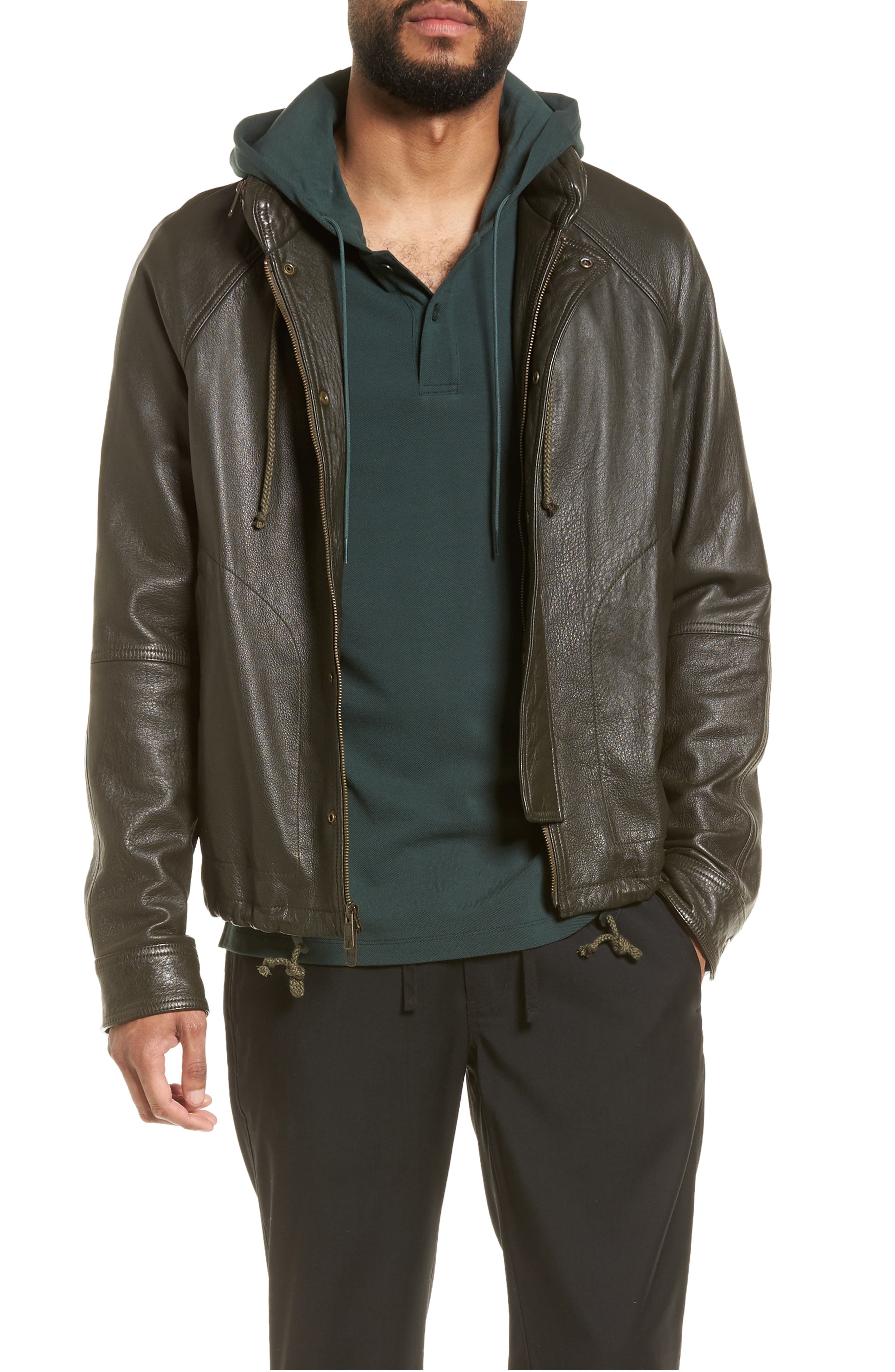 Slim Fit Lambskin Leather Parka,                         Main,                         color, Olive