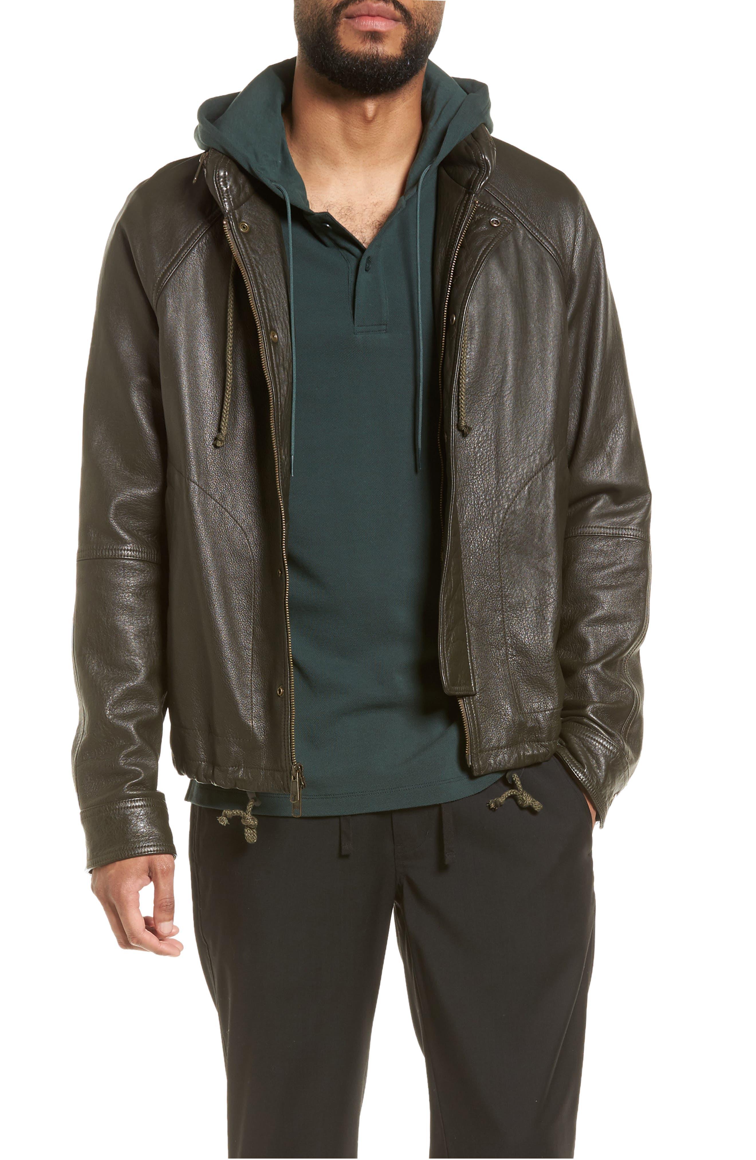 Slim Fit Lambskin Leather Parka,                         Main,                         color, Olive