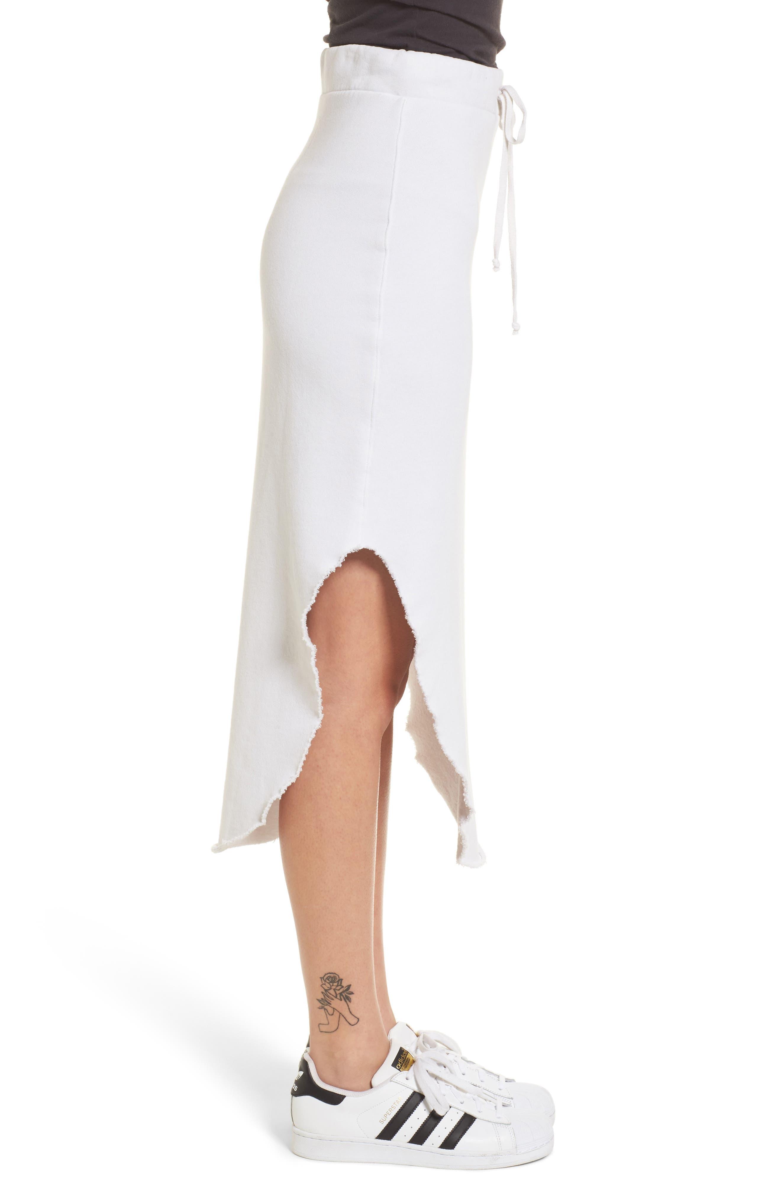 Midi Fleece Skirt,                             Alternate thumbnail 4, color,                             Dirty White