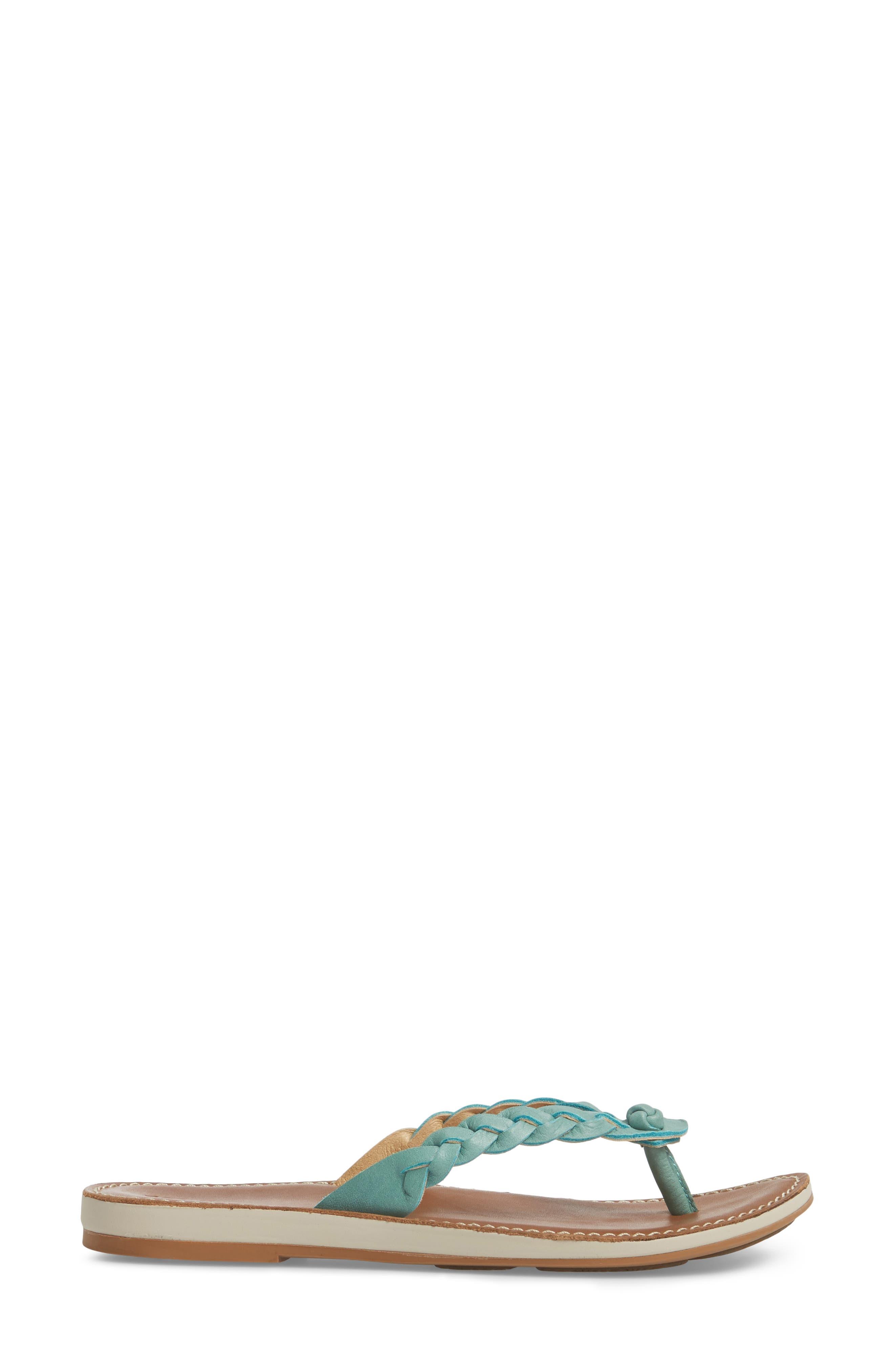 Kahiko Flip-Flop,                             Alternate thumbnail 3, color,                             Sea/ Tan Leather