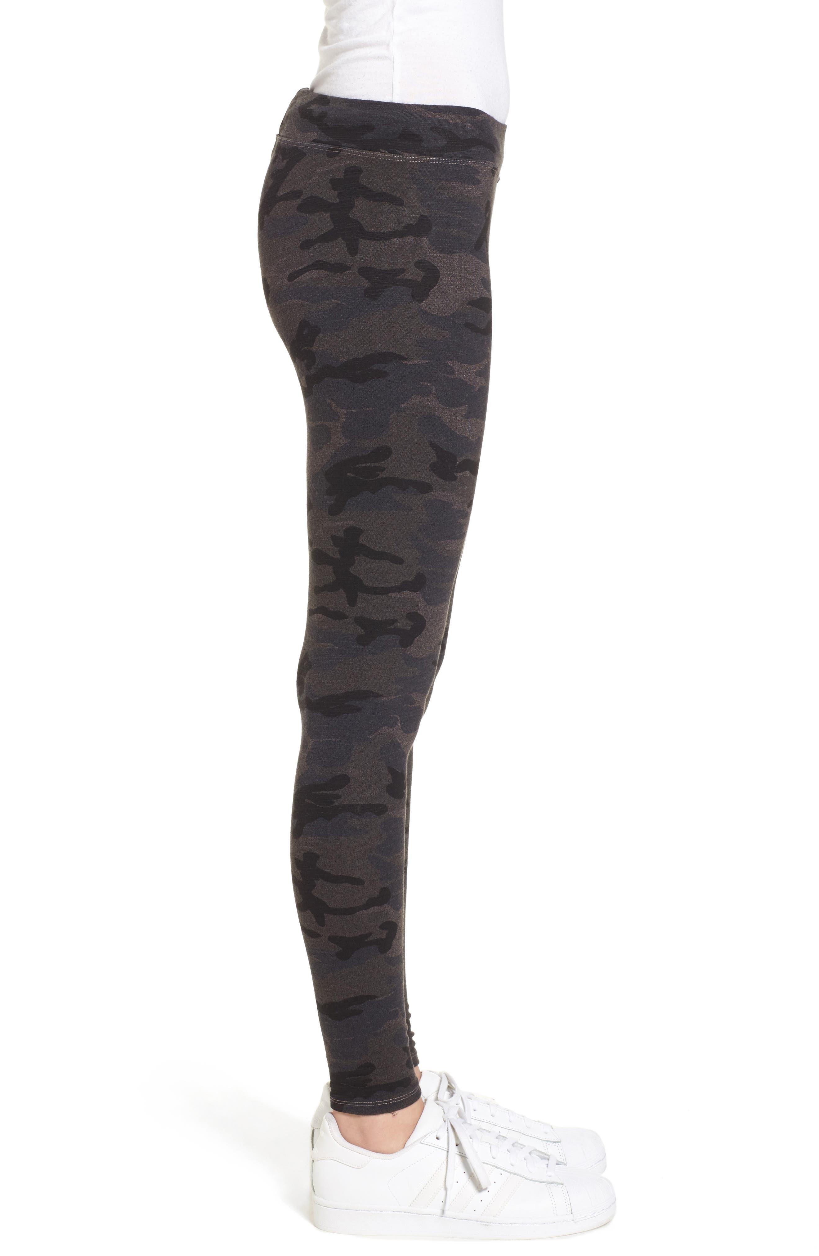Camo Yoga Pants,                             Alternate thumbnail 3, color,                             Charcoal