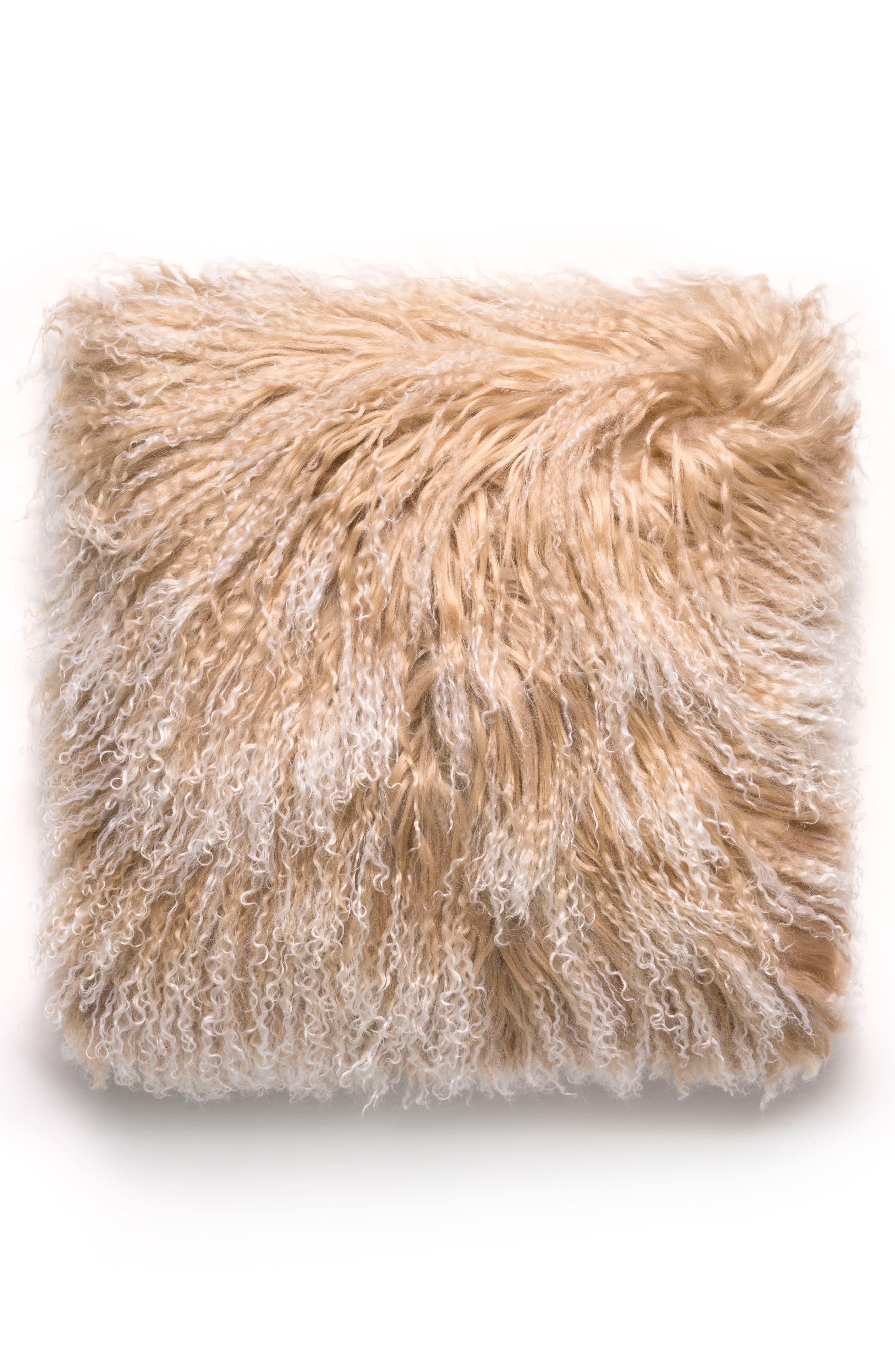 Genuine Mongolian Sheepskin Accent Pillow,                         Main,                         color, Sand