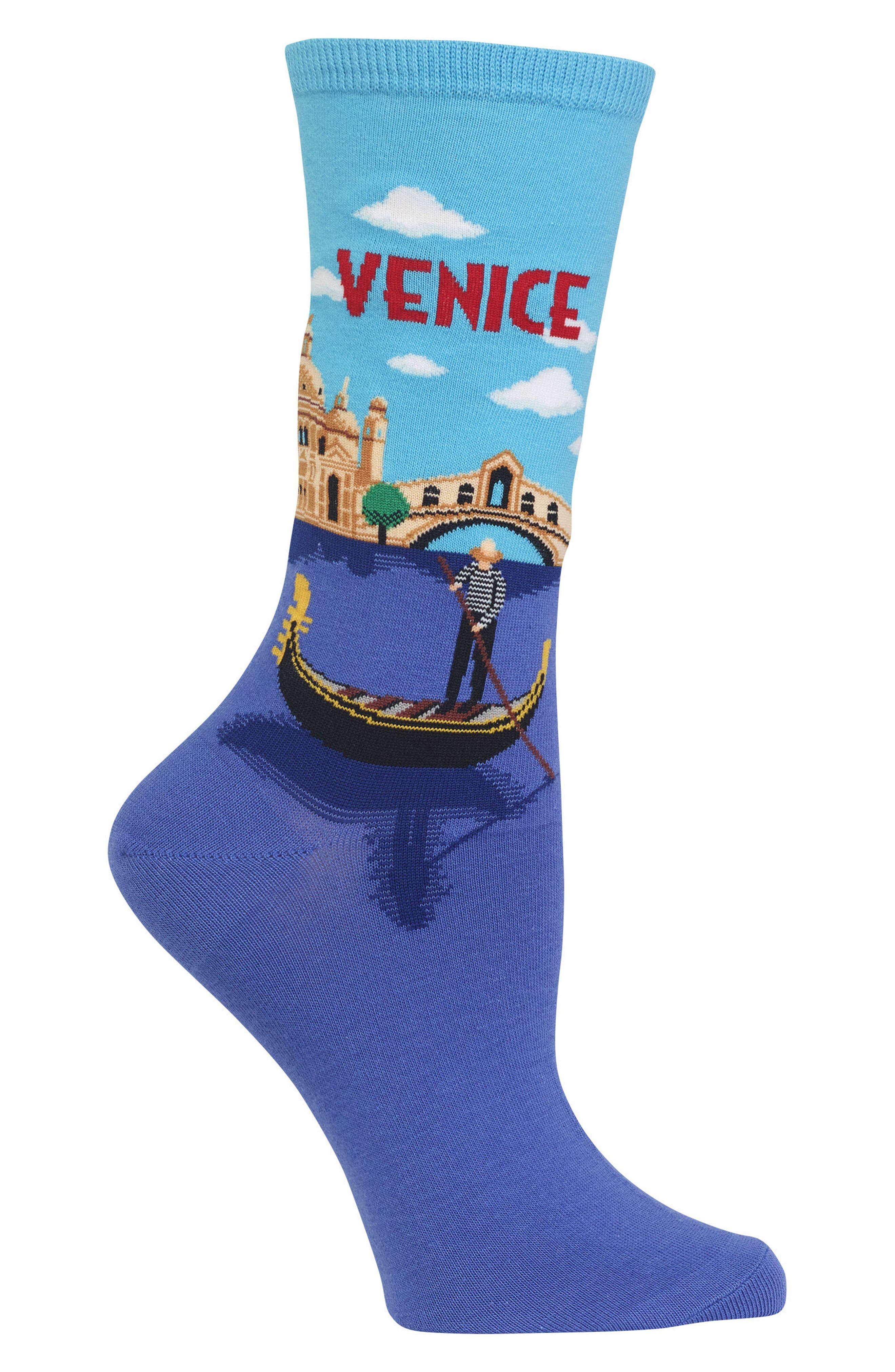 Travel Series - Venice Crew Socks,                             Alternate thumbnail 3, color,                             Light Blue