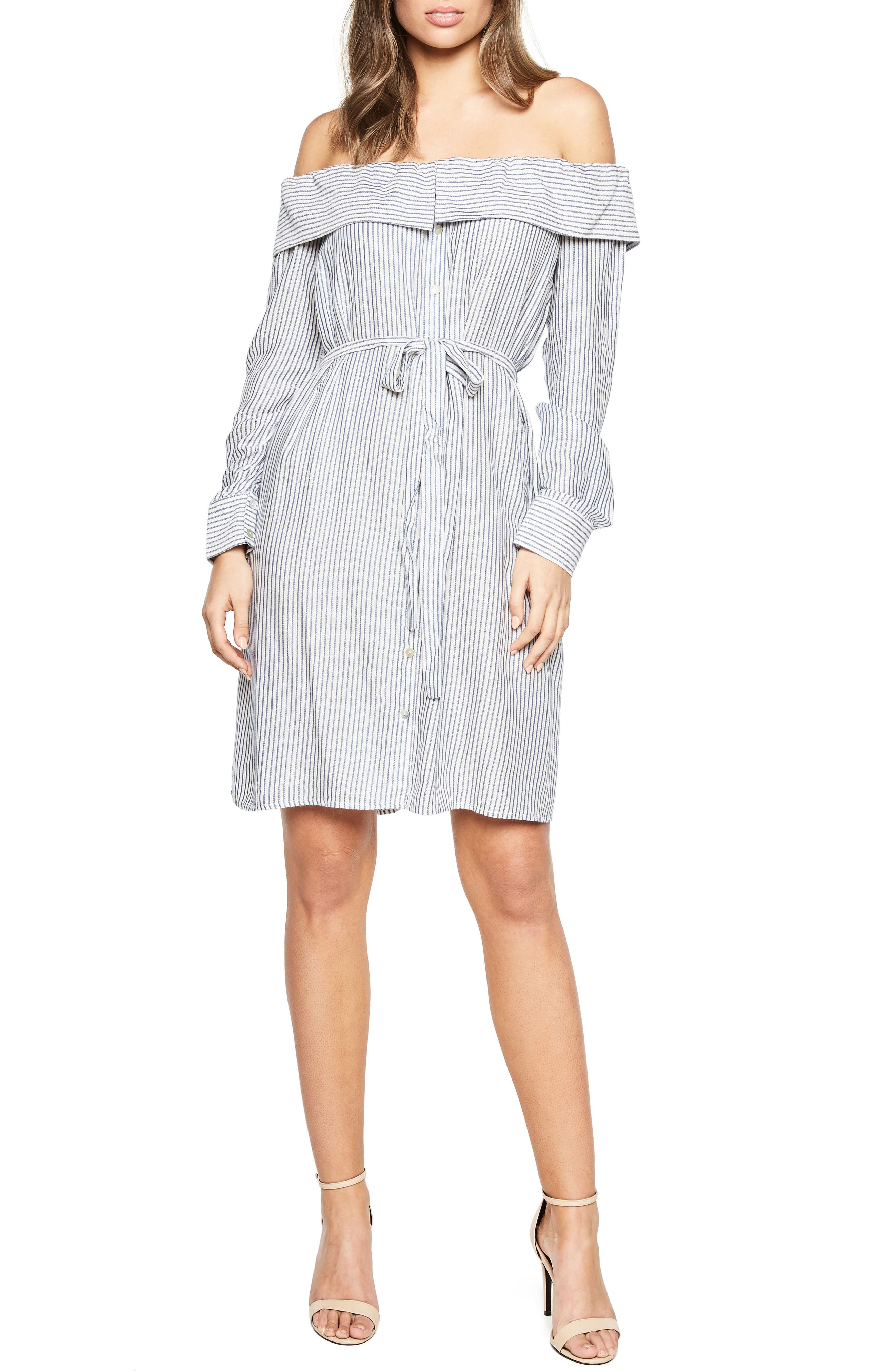 Sienna Off the Shoulder Shirtdress,                         Main,                         color, Blue/ Wht