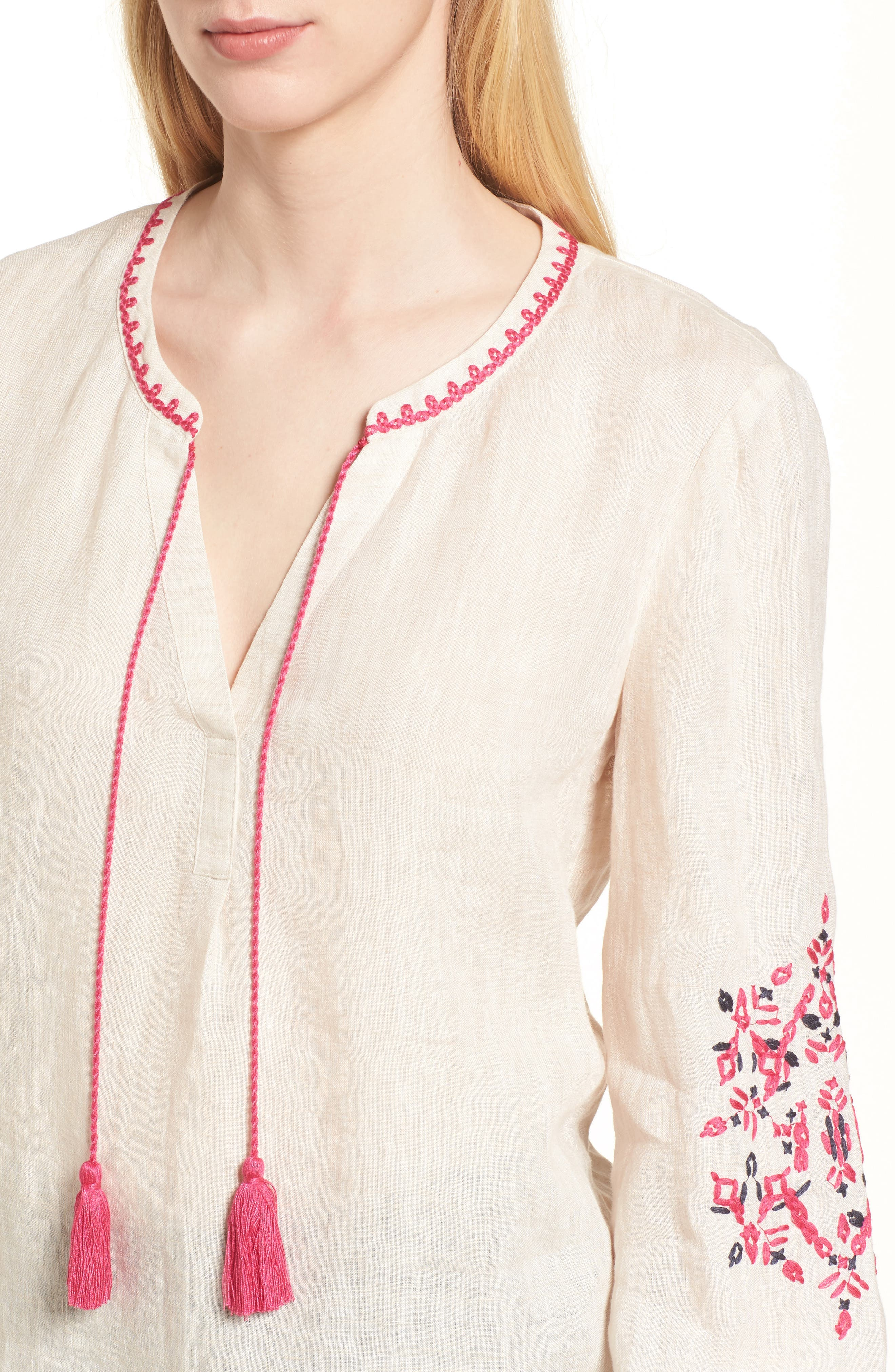 Flora Embroidered Linen Top,                             Alternate thumbnail 3, color,                             Sand Wash Mix
