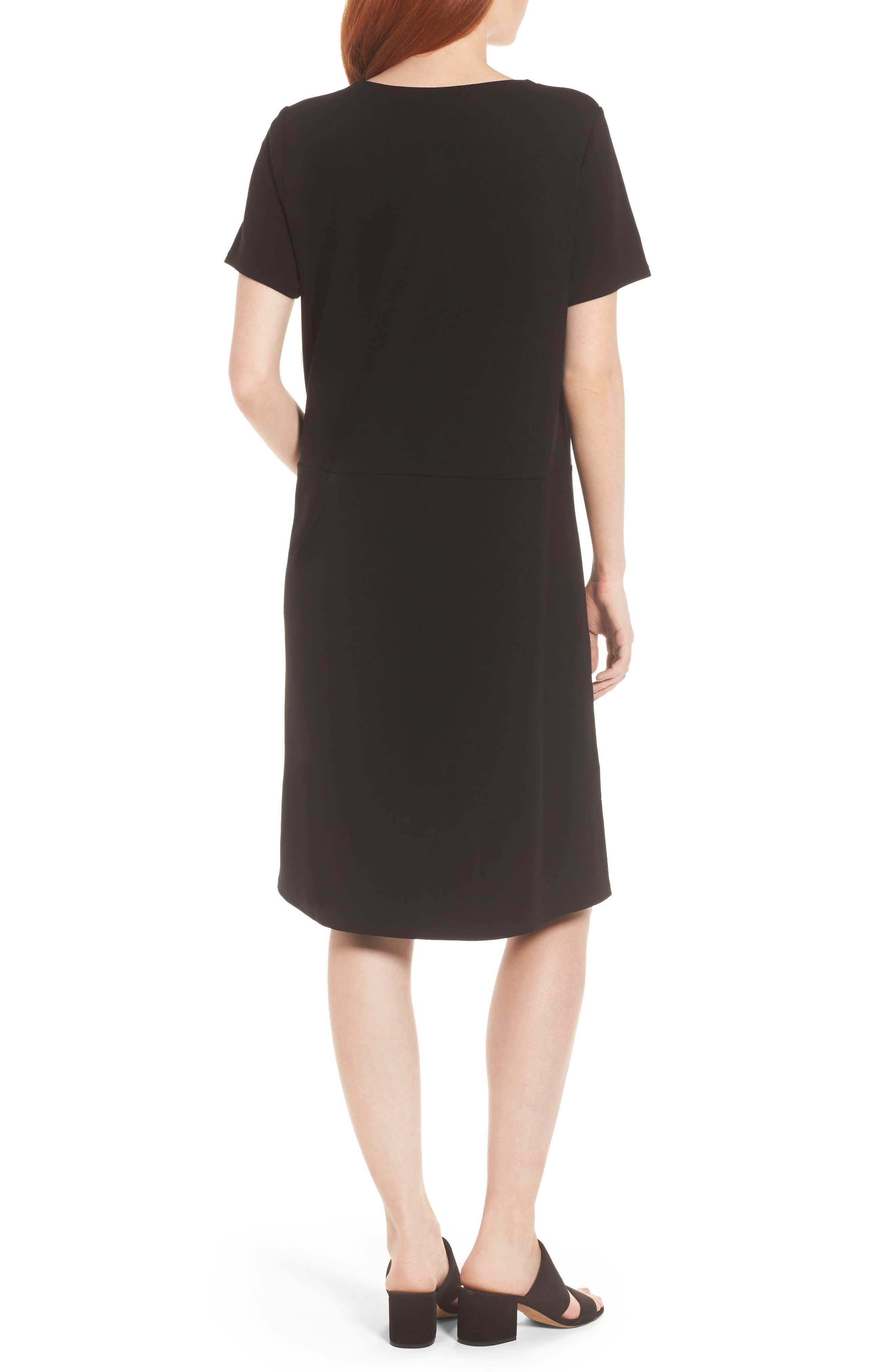 Tencel<sup>®</sup> Lyocell Blend Knit Shift Dress,                             Alternate thumbnail 2, color,                             Black