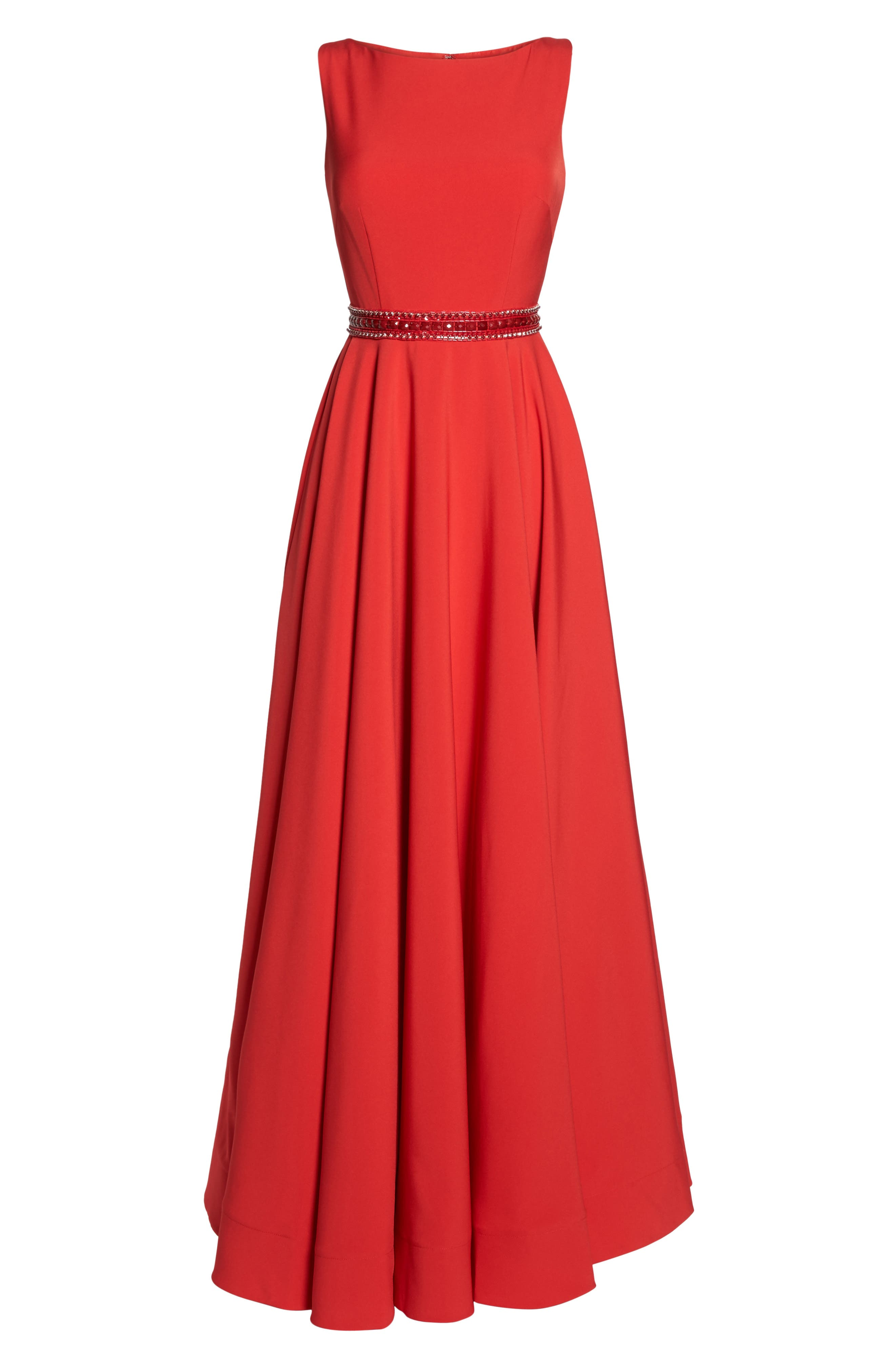 Beaded Waist Gown,                             Alternate thumbnail 6, color,                             Red