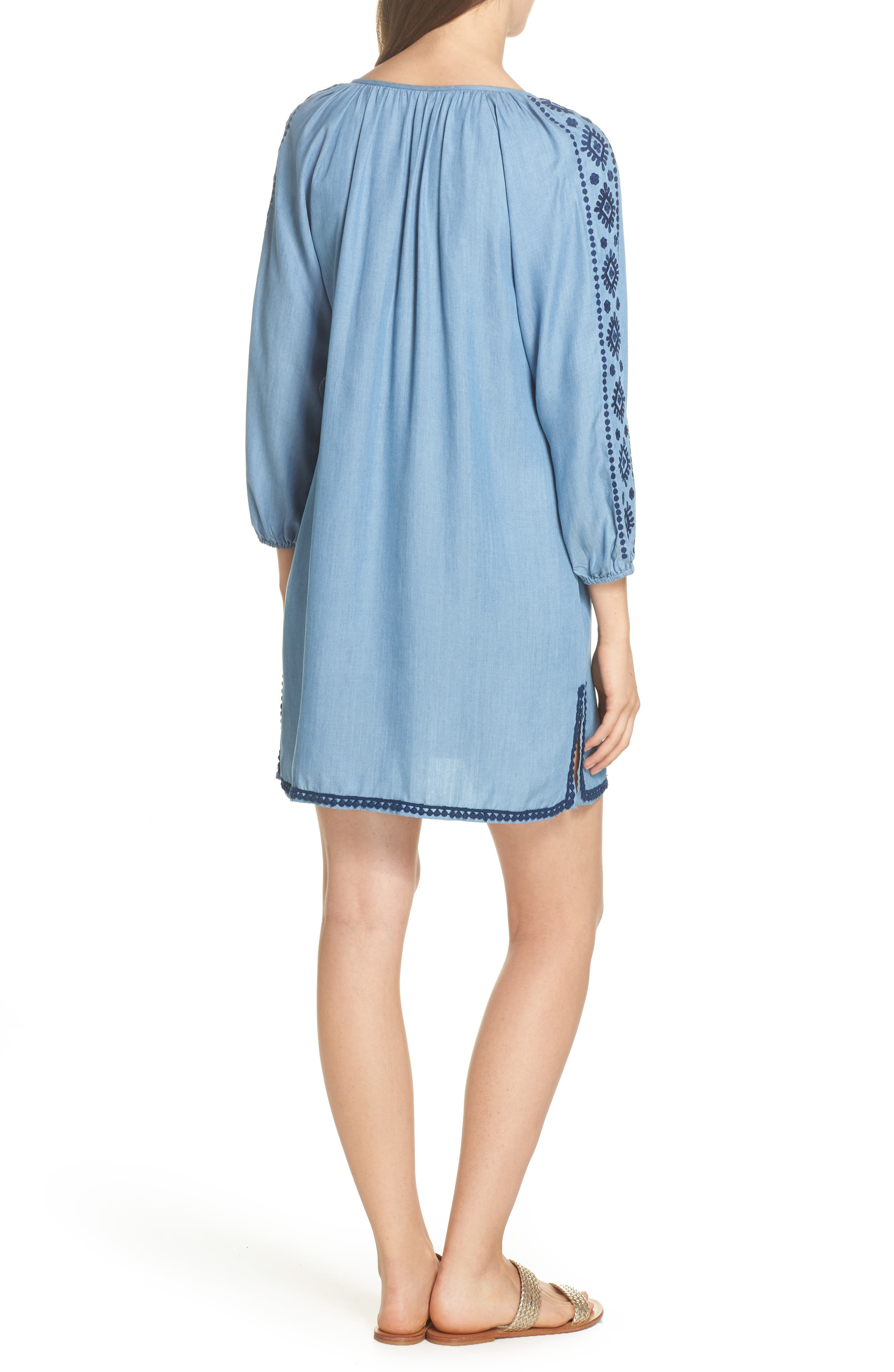 Embroidered Chambray Cover-Up Dress,                             Alternate thumbnail 2, color,                             Chambray