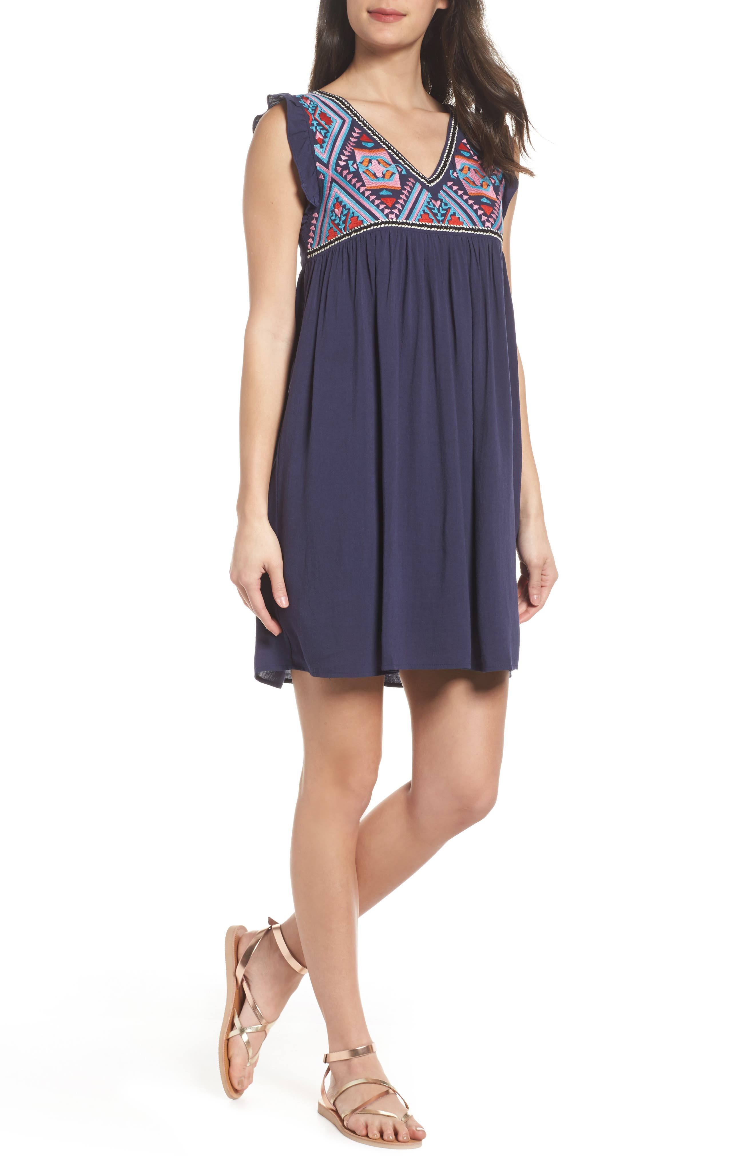 Embroidered Empire Waist Dress,                         Main,                         color, Navy