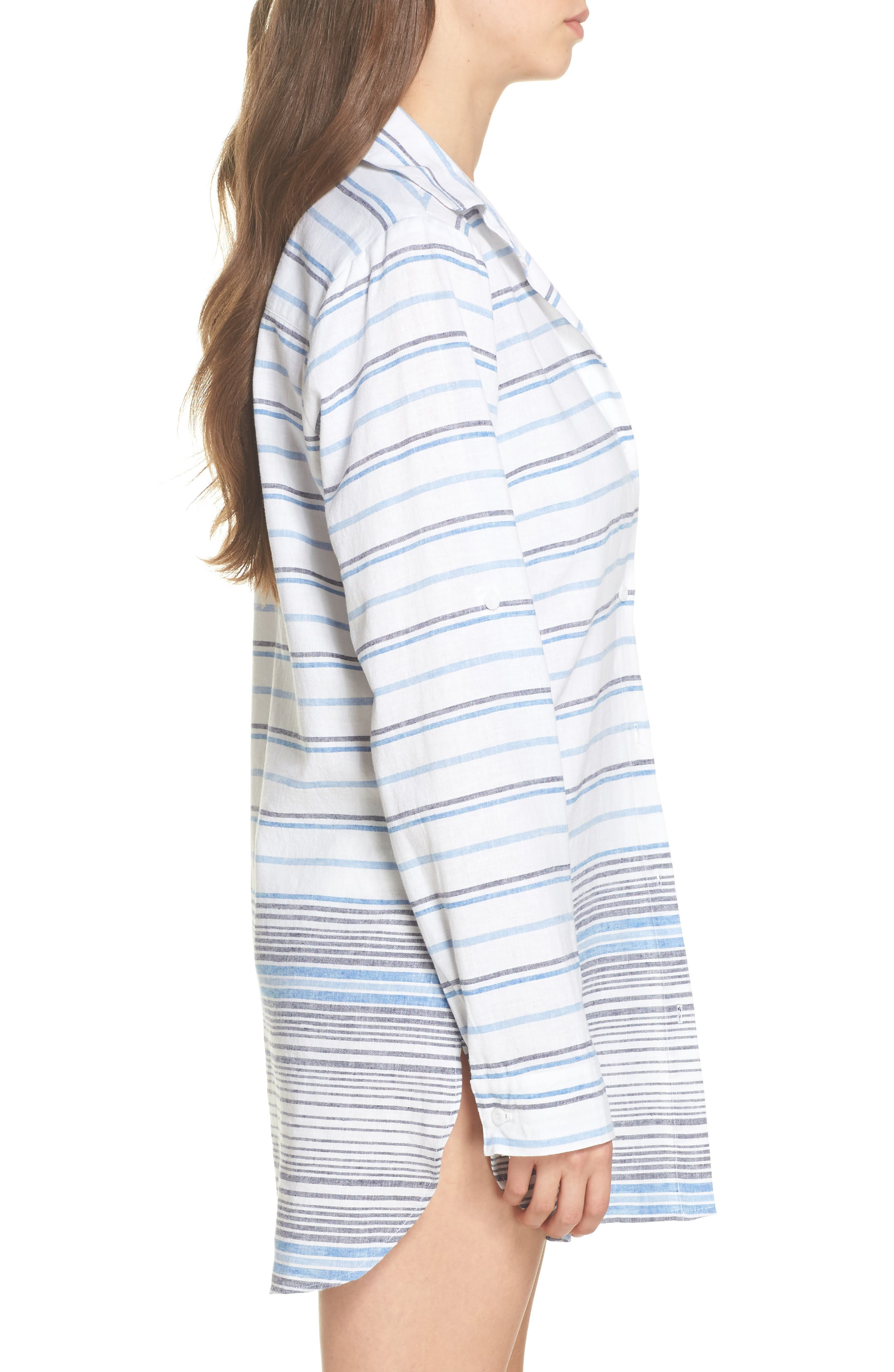 Stripe Linen & Cotton Cover-Up Tunic,                             Alternate thumbnail 3, color,                             White