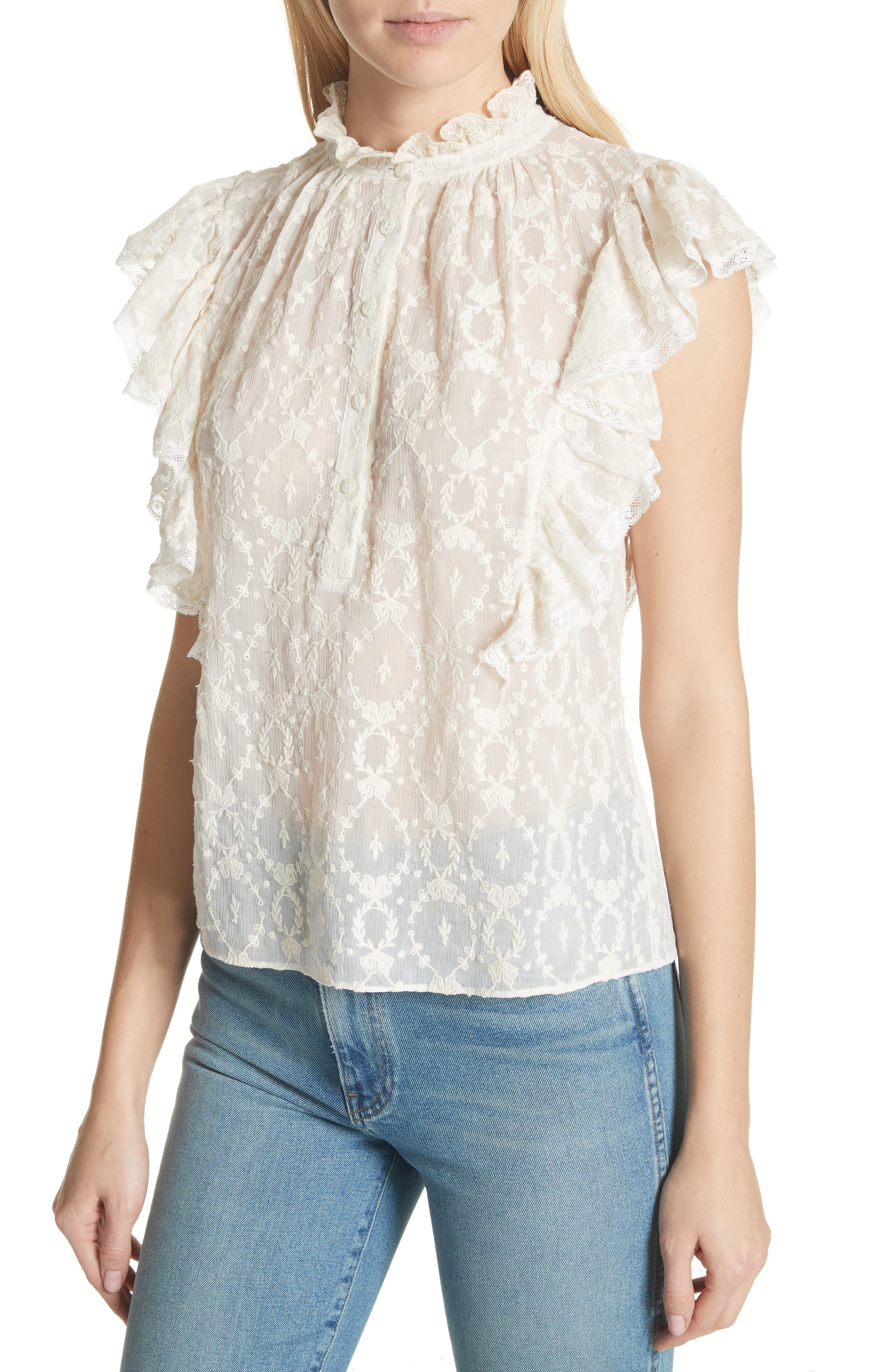 Lily Ruffle Embroidered Silk Top,                             Alternate thumbnail 4, color,                             Snow