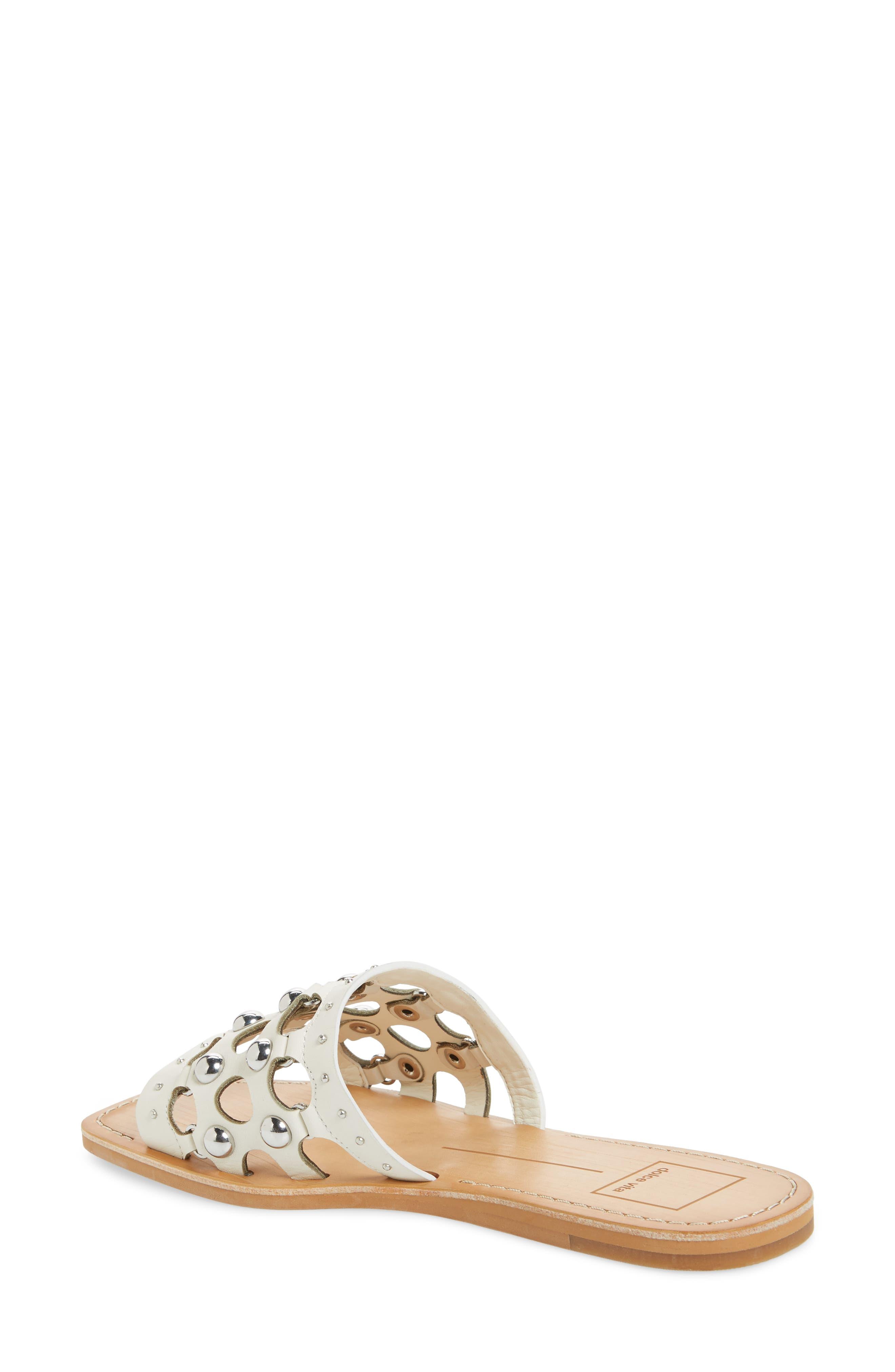 Celita Perforated Studded Slide Sandal,                             Alternate thumbnail 2, color,                             White