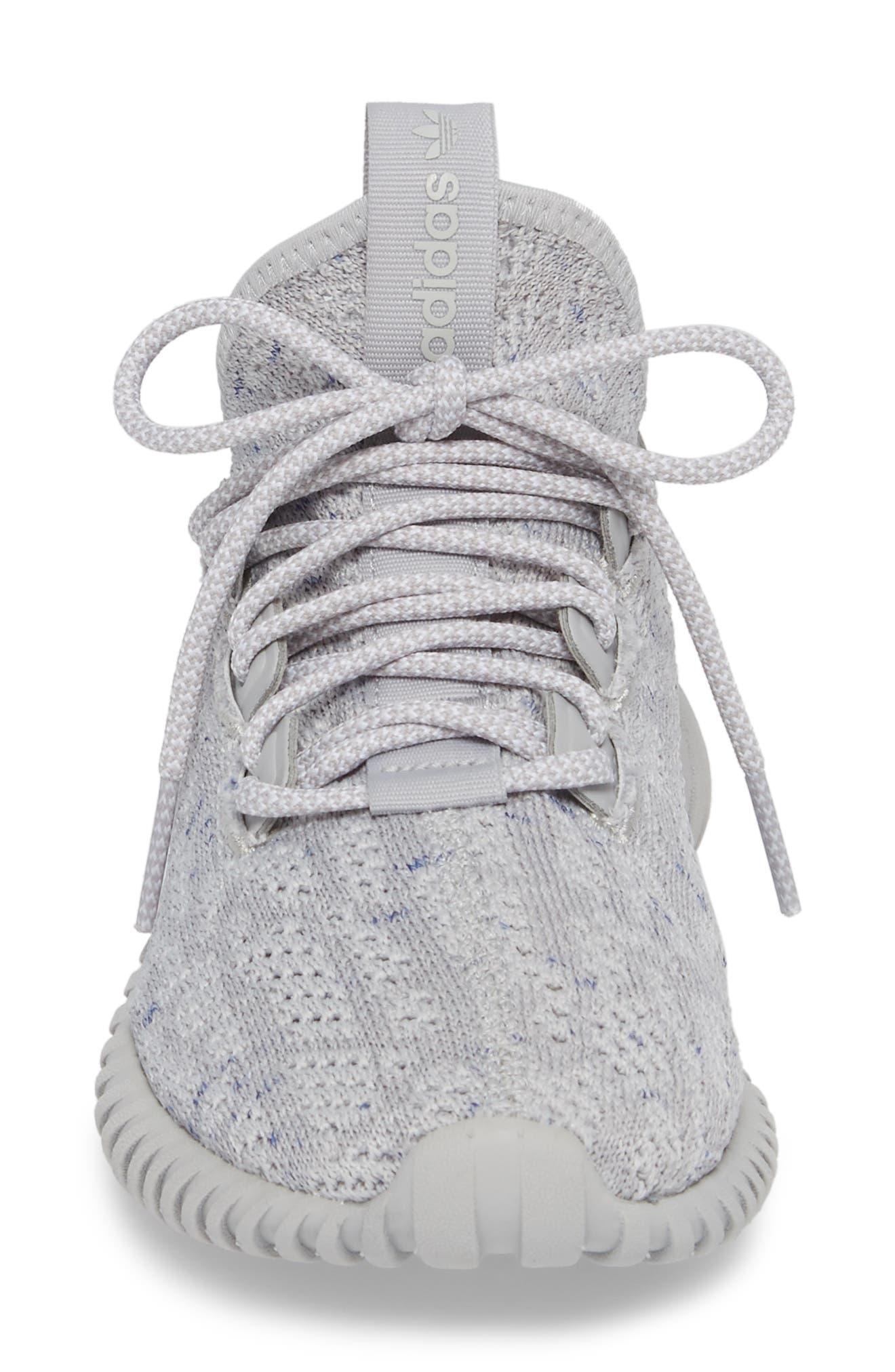 Tubular Doom Sock Primeknit Sneaker,                             Alternate thumbnail 4, color,                             Grey/ White/ Blue