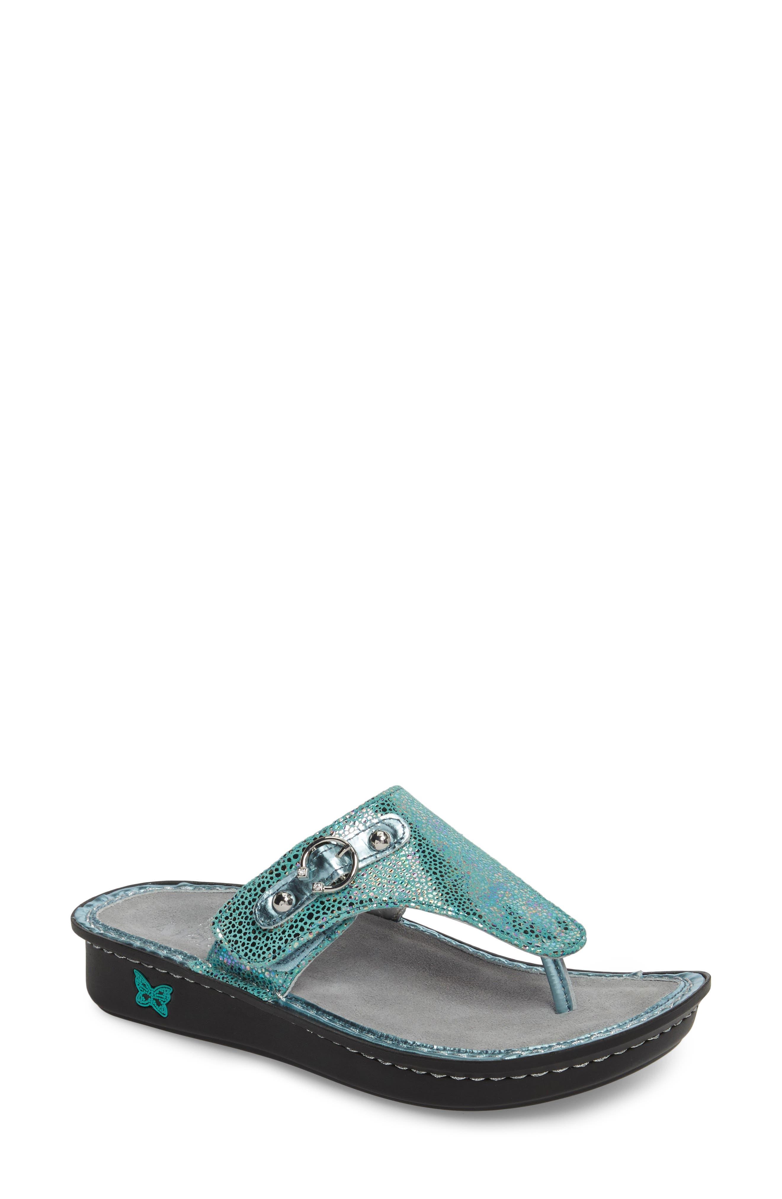 'Vanessa' Thong Sandal,                         Main,                         color, Aqua Love Leather